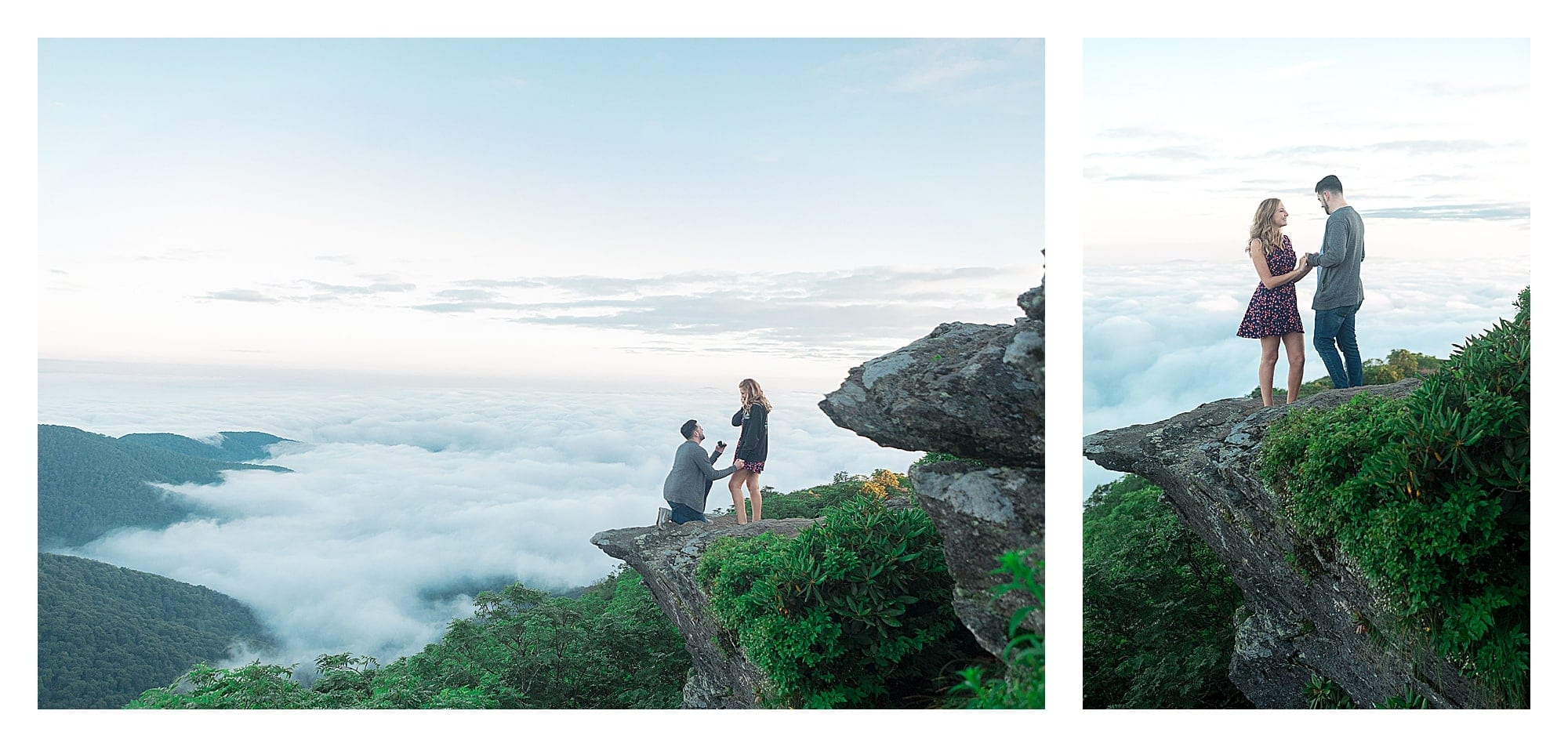 Man proposing to woman on top of mountains edge early morning