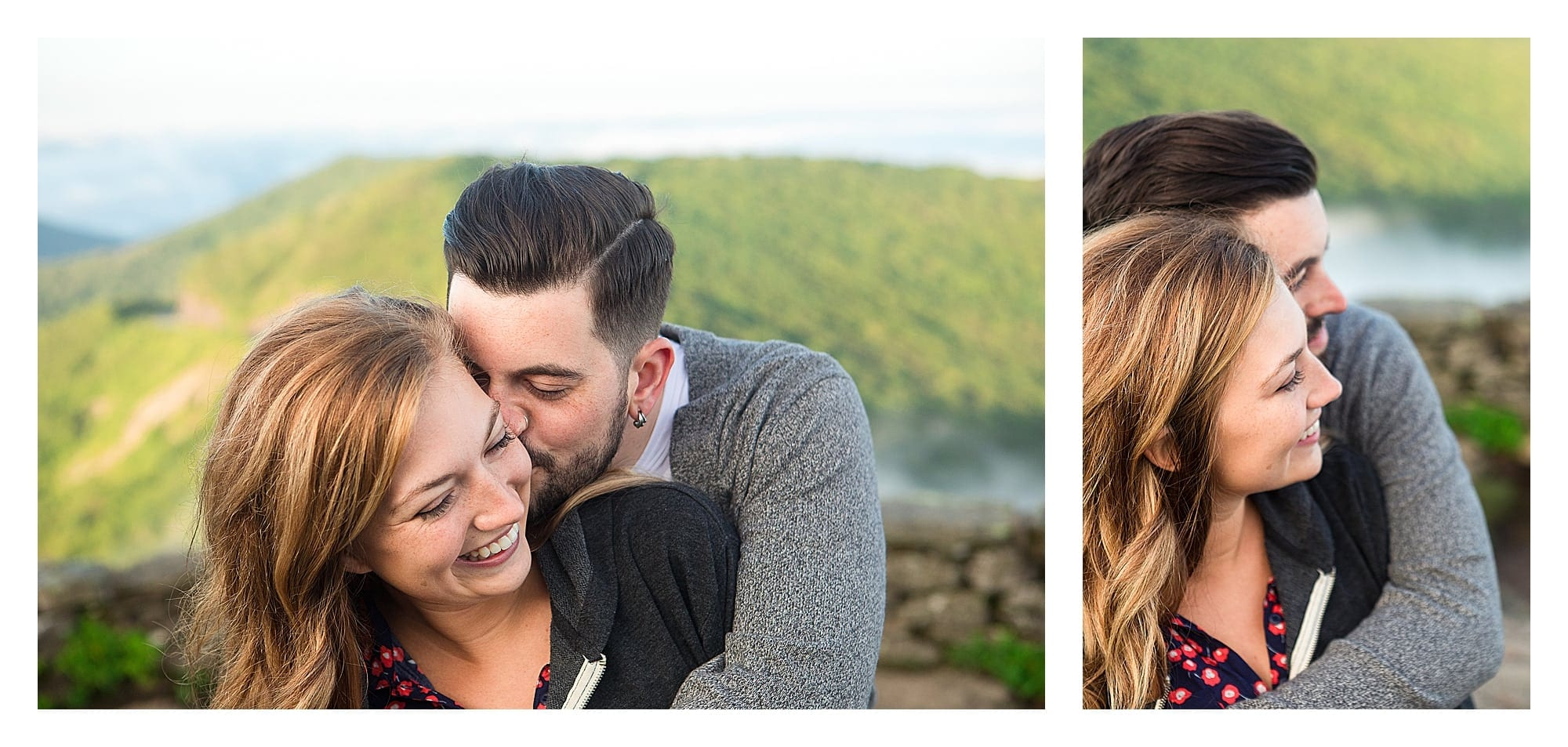 Man hugging fiance and kissing her on cheek