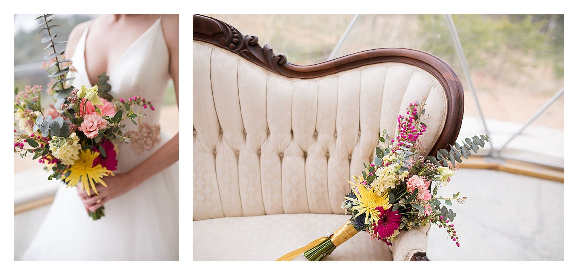 Bride holding beautiful pink and yellow bouquet