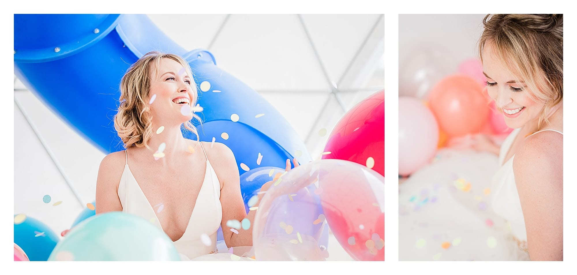 Bride in wedding dress laughing surrounded by many multi colored balloons