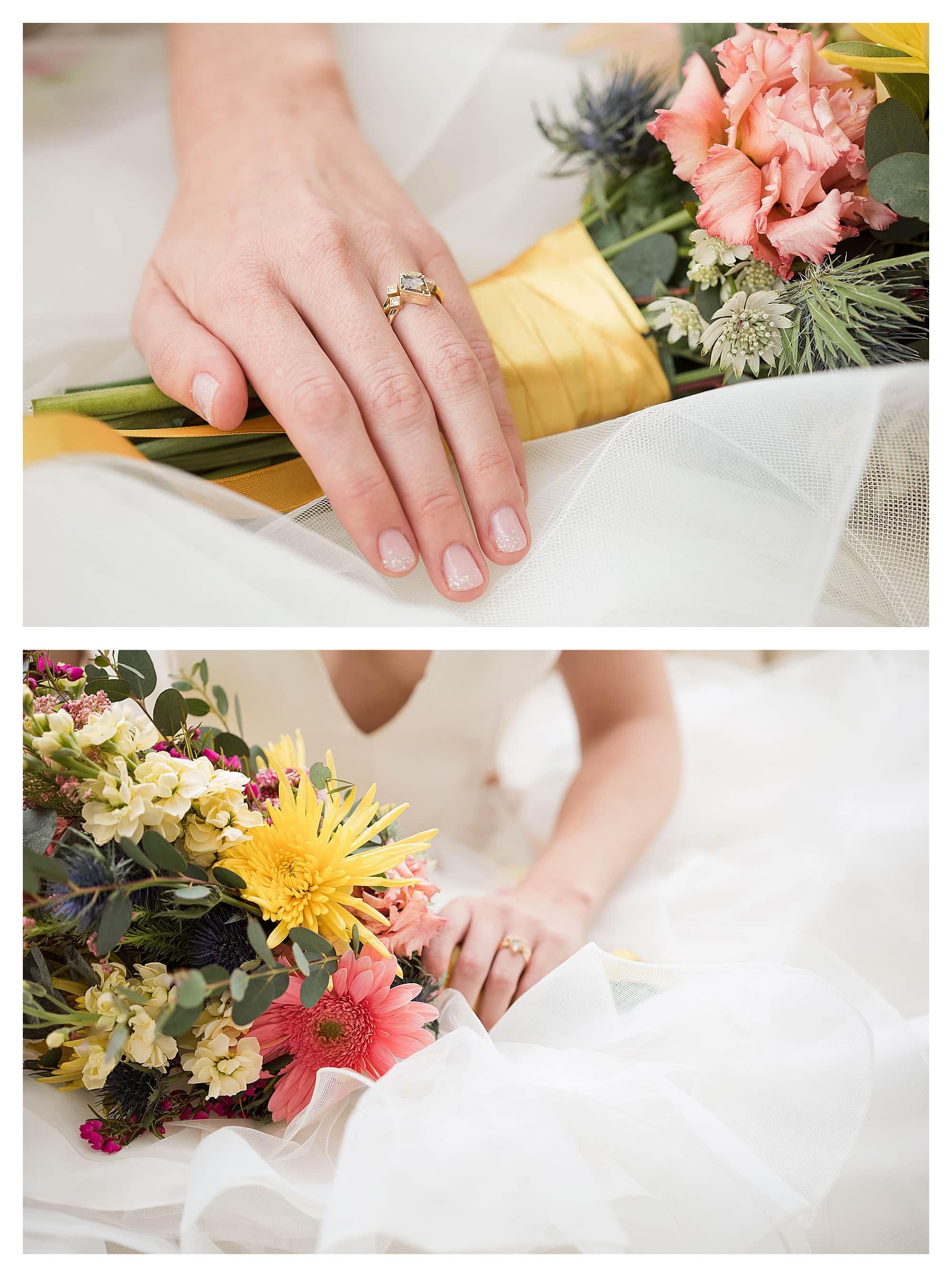 Close up of engagement ring and pink and yellow flower bouquet with bride