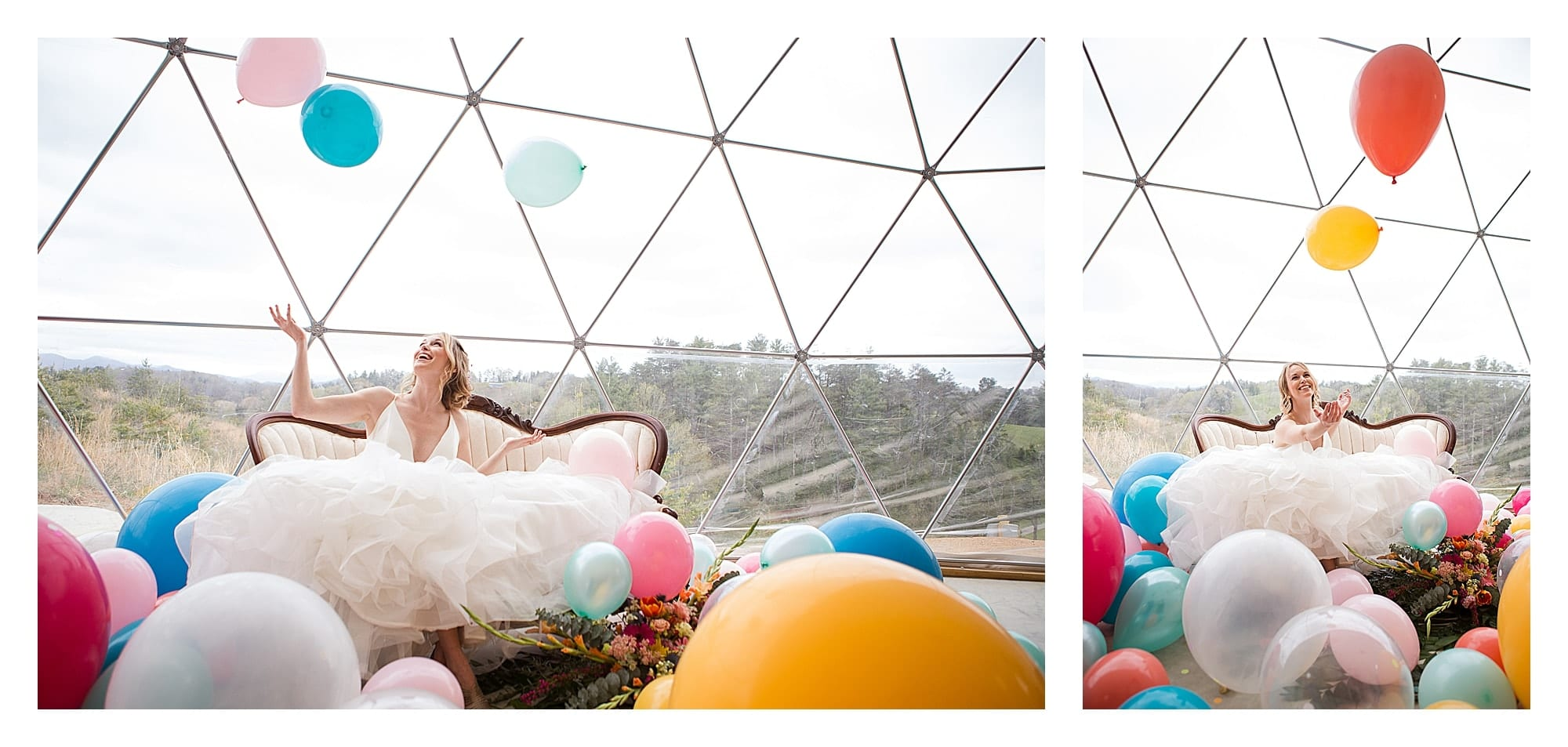 Bride sitting on vintage couch in wedding dress laughing surrounded by many multi colored balloons