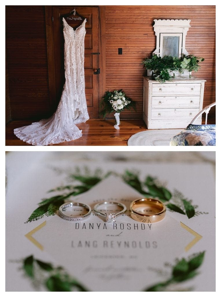 Lace wedding dress hanging on back of dark wooden door - second image of wedding rings sitting on top of wedding invitation - kathy beaver photography
