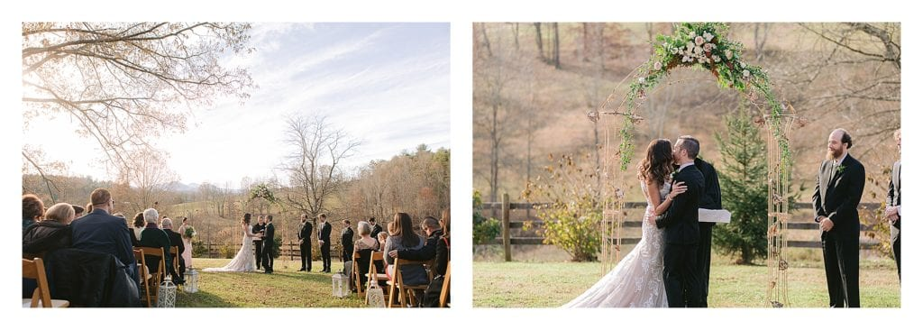 Bride and groom saying wedding vows and then sharing kiss under floral arch outdoors - kathy beaver photography