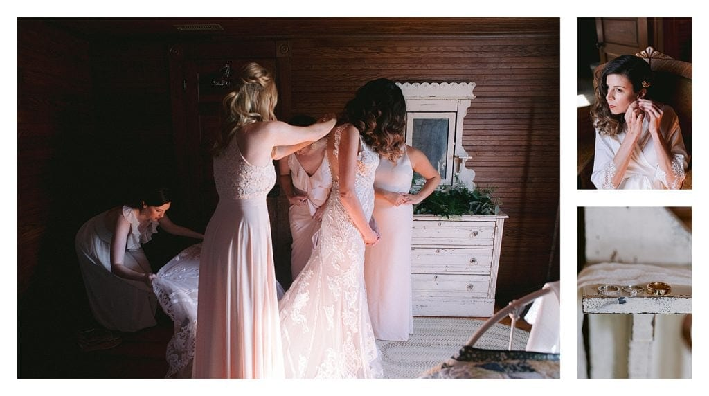 Bridesmaids helping bride do up lace wedding gown before wedding - kathy beaver photography