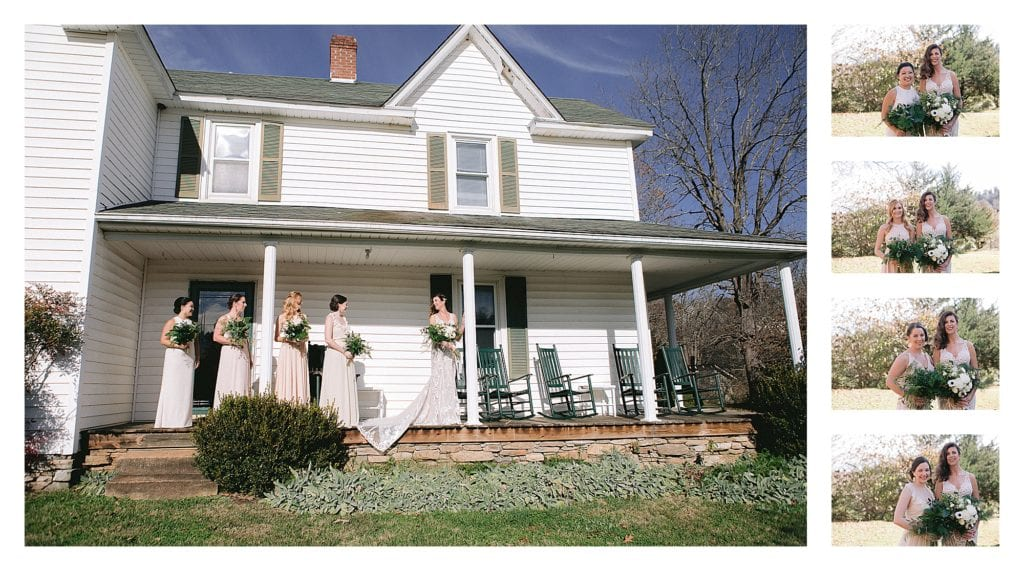Brides and bridesmaids standing  on front porch of white farmhouse - kathy beaver photography