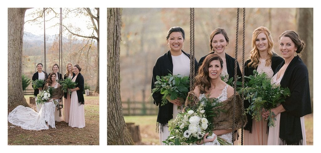 Bride sitting on wooden tree swing with four bridesmaids standing behind her - kathy beaver photography