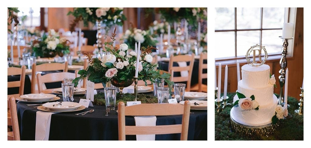 Wedding tablescape and white wedding cake with cream floral accents - kathy beaver photography