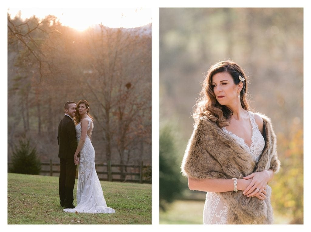 Bride and groom standing holding hands in grassy field at sunset - kathy beaver photography