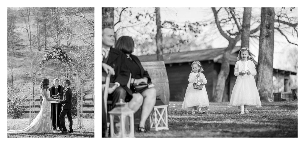 Black and white photos of bride and groom holding hands saying vows and two young flower girls walking down the aisle - kathy beaver photography