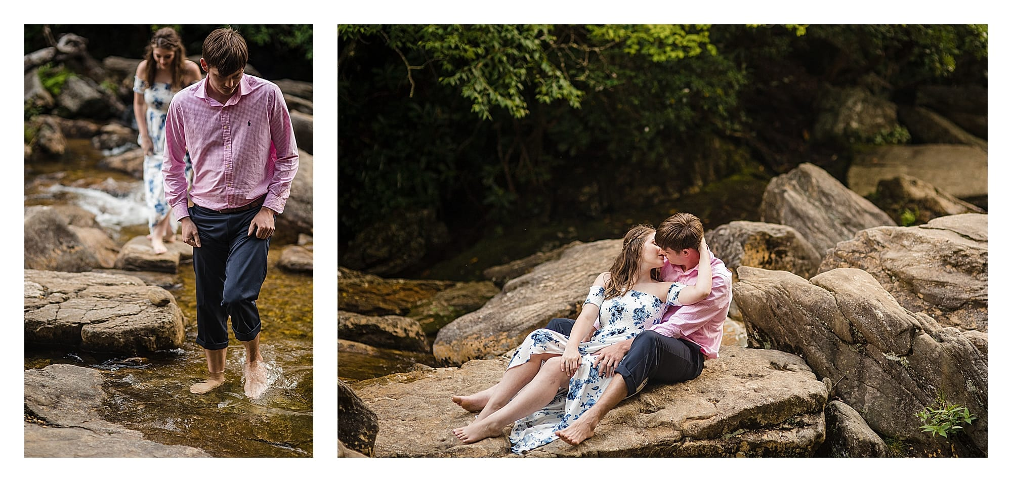 Photo of couple walking barefoot across a small river / photo two of couple sitting on rock beside river kissing