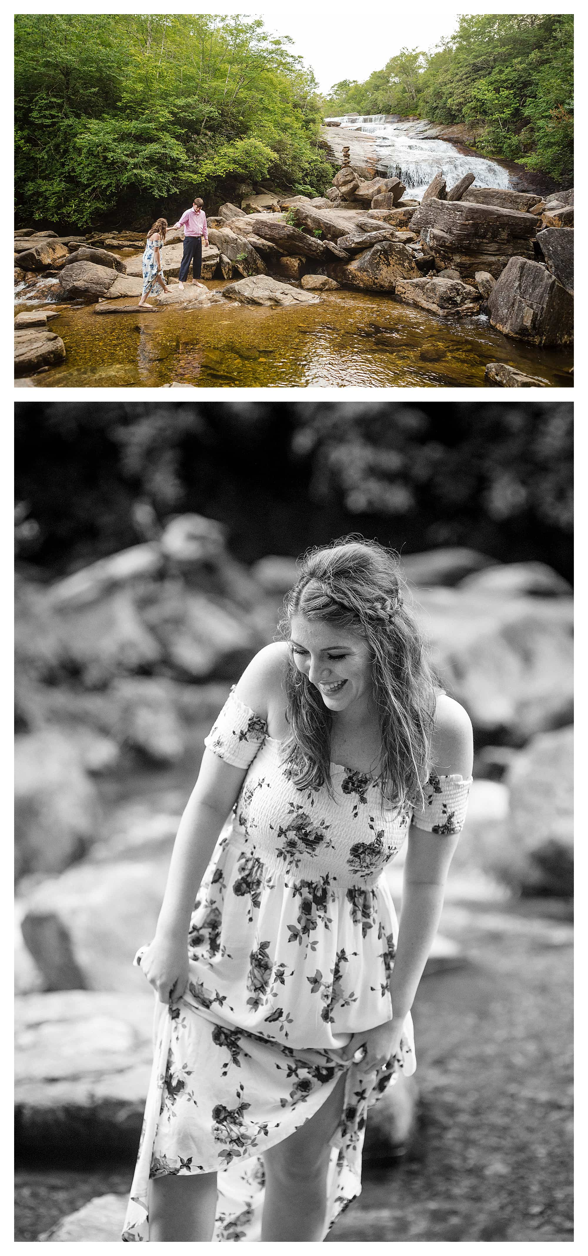 Photo of couple embracing on rocks beside calm river / second black and white photo of girl walk along rocks by river wearing white floral dress smiling