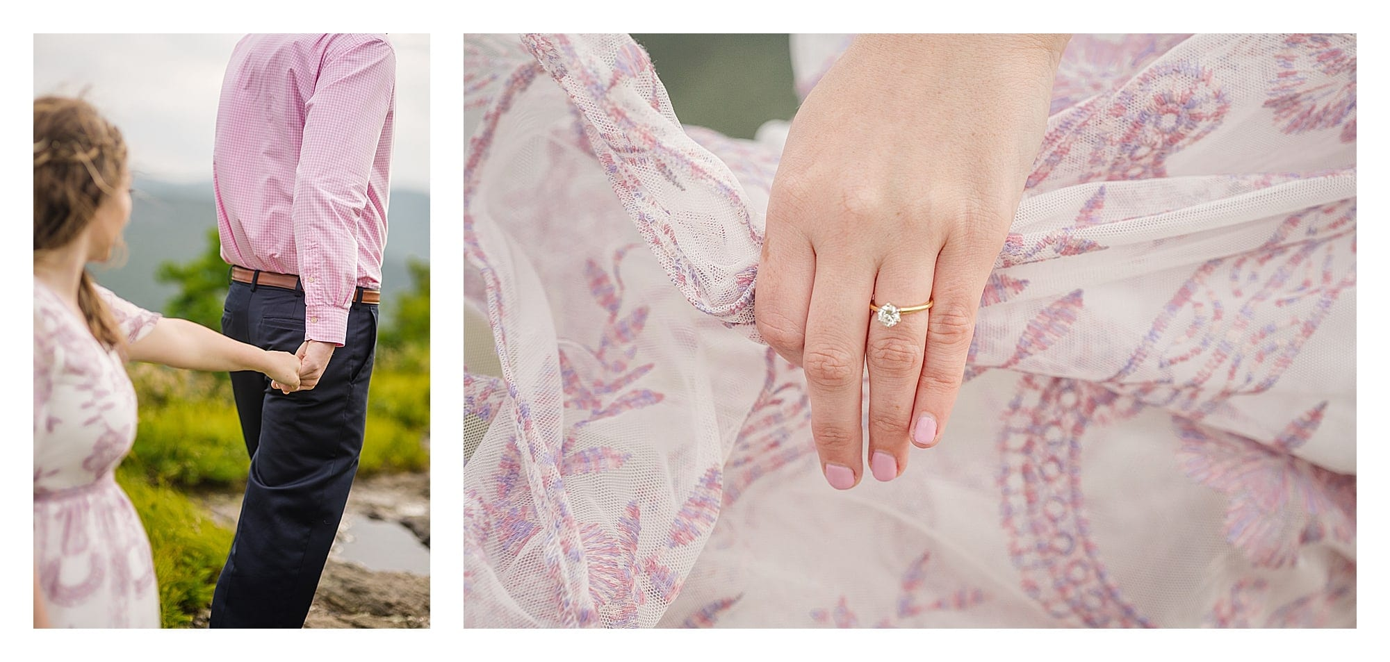 Engaged couple holding hands walking along mountain top and photo of beautiful gold band engagement ring