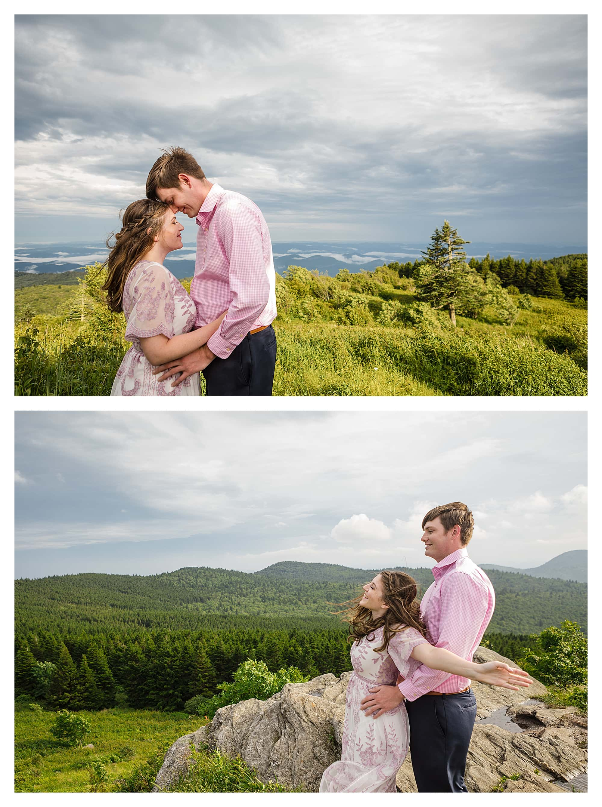 Engaged couple embracing one another on mountain top smiling at camera with mountain range in the background