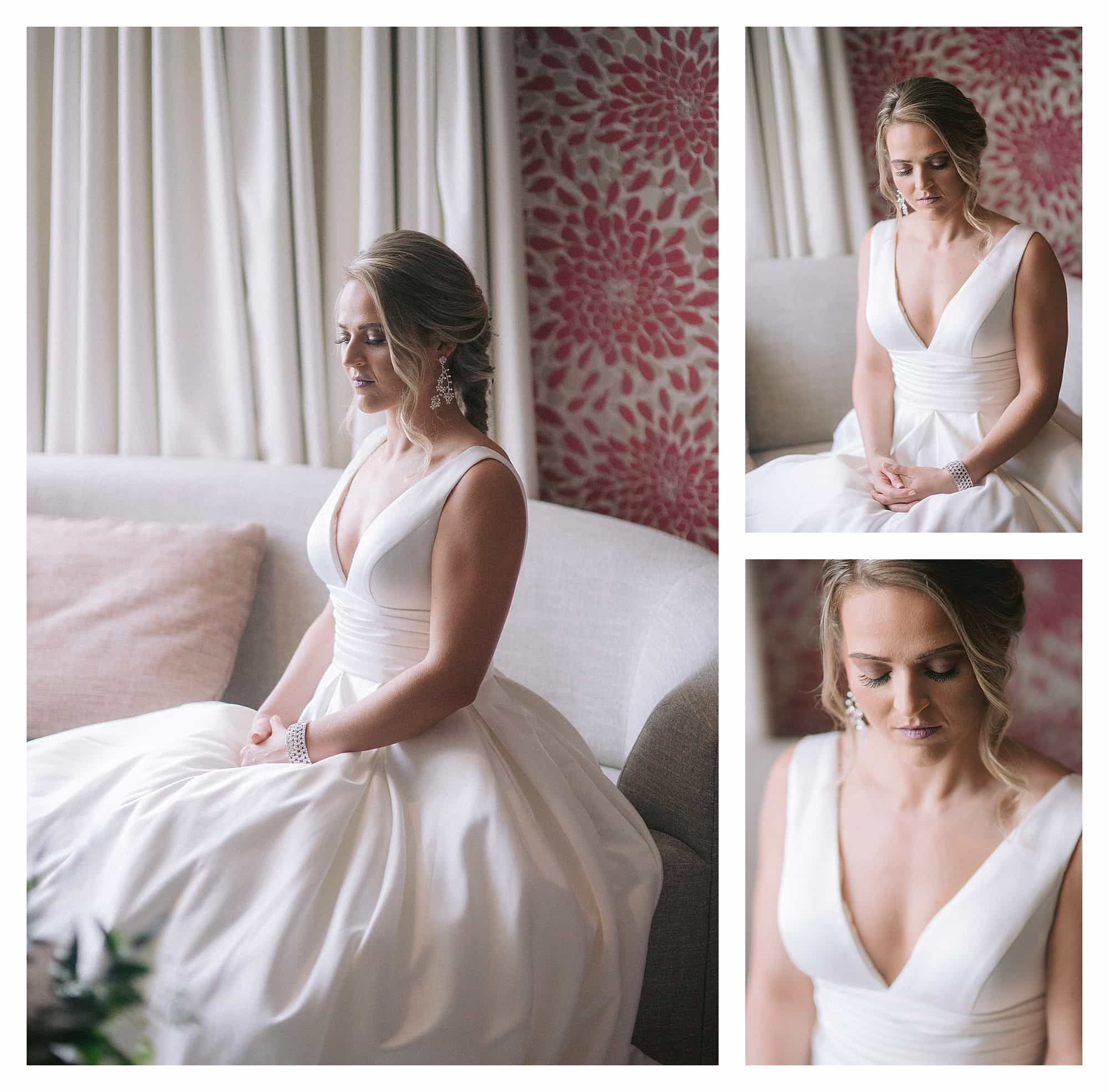 Bride in wedding dress sitting on couch