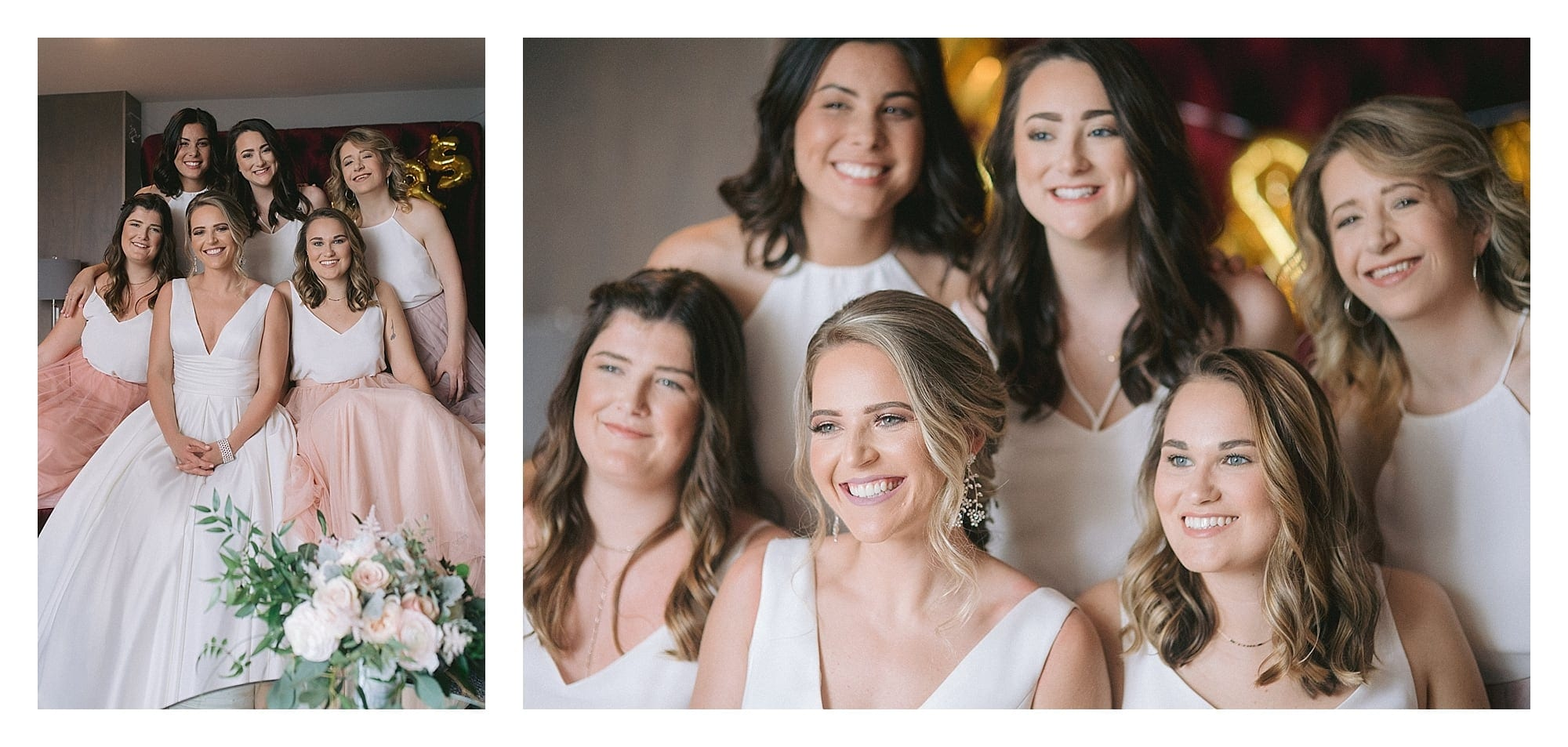 Bride and her bridesmaids smiling at camera sitting on couch