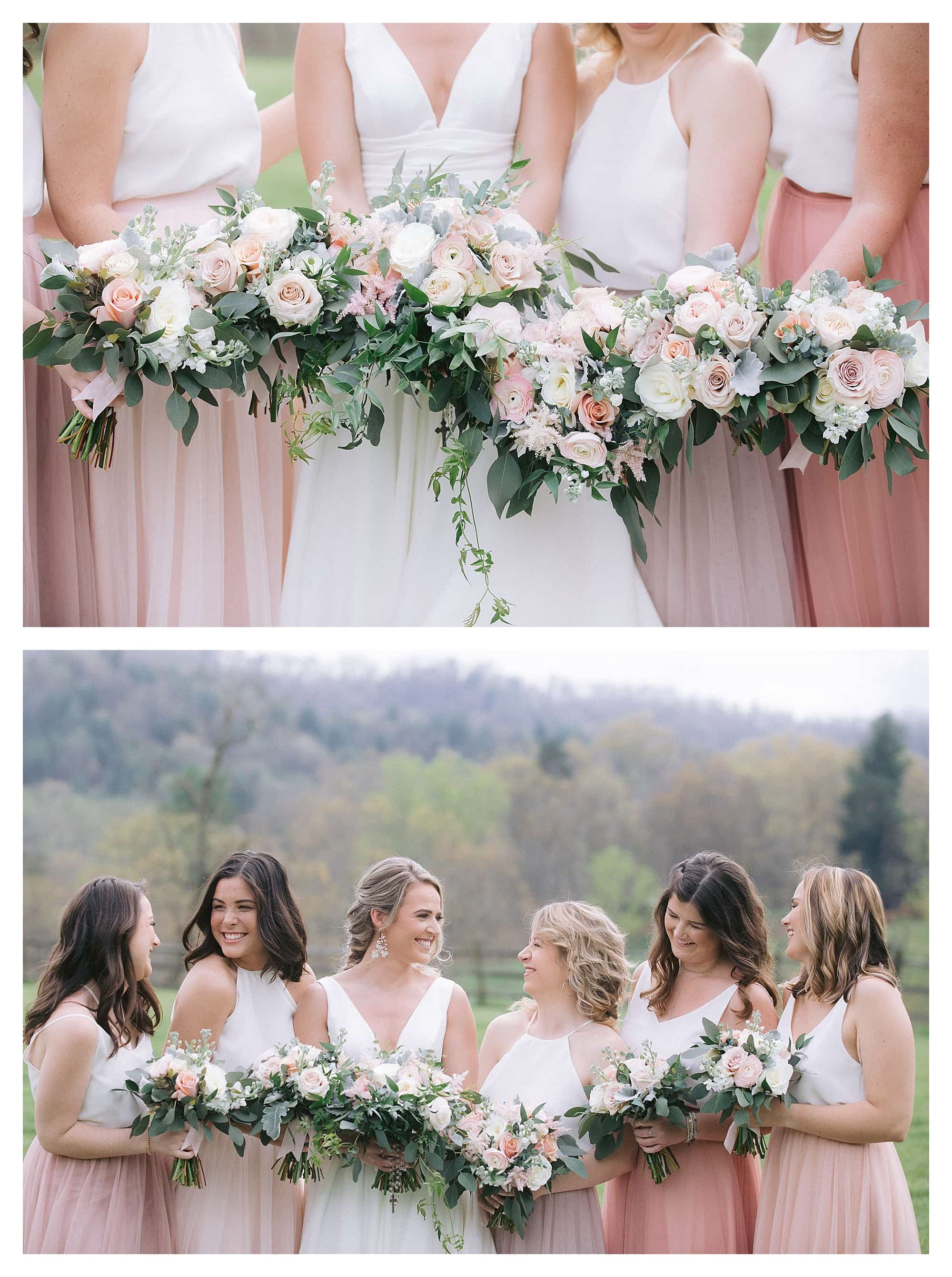 Bride and bridesmaids holding cream and peach floral bouquets laughing
