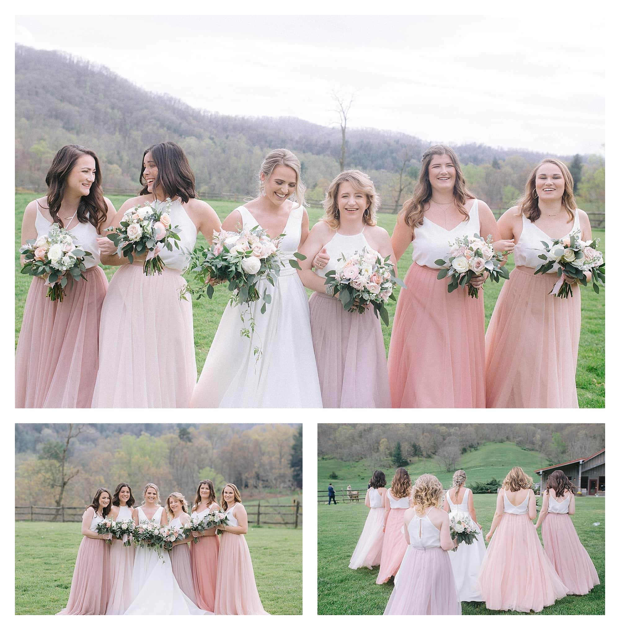 Bride and bridesmaids holding cream and peach floral bouquets