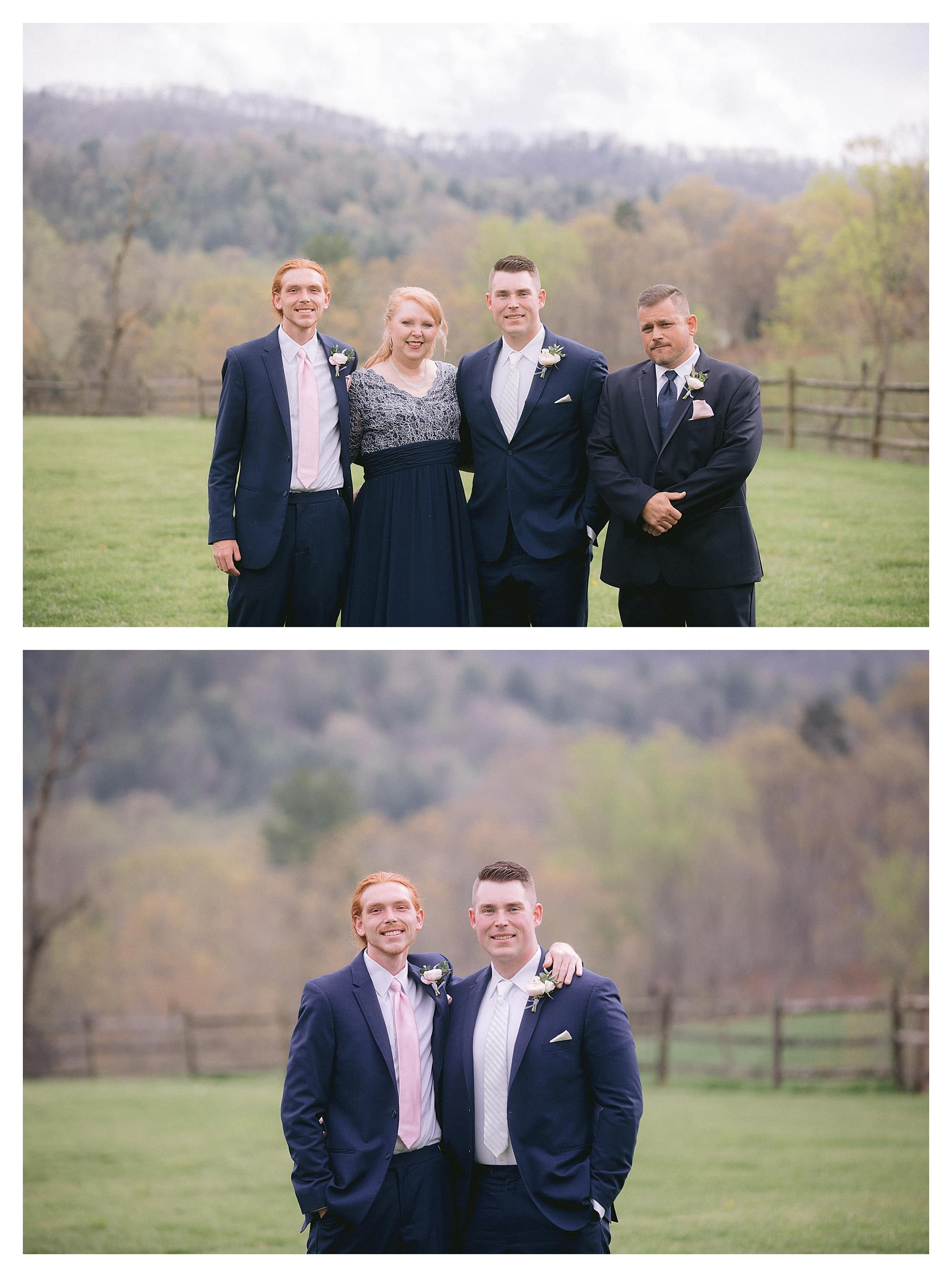 Groom posing with family in grassy field