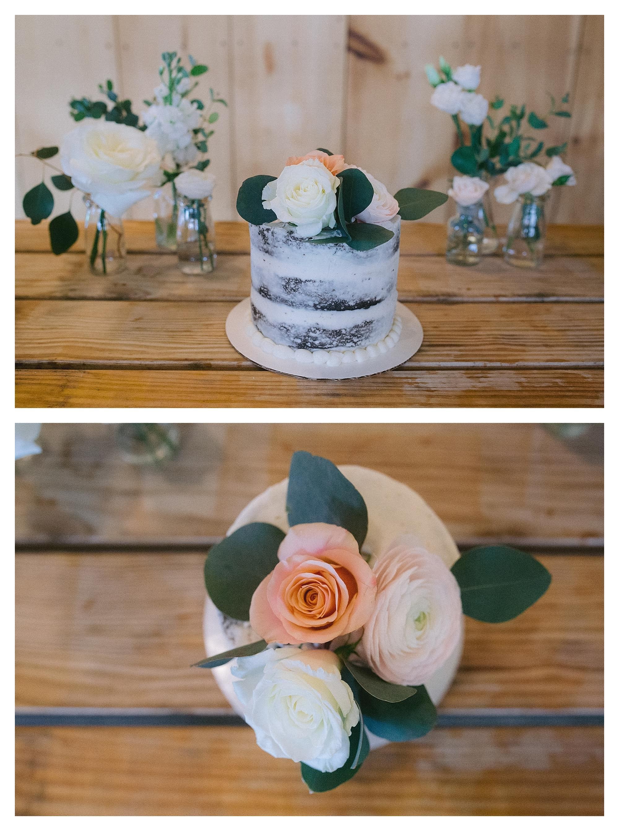 White wedding cake with peach and cream flowers on top