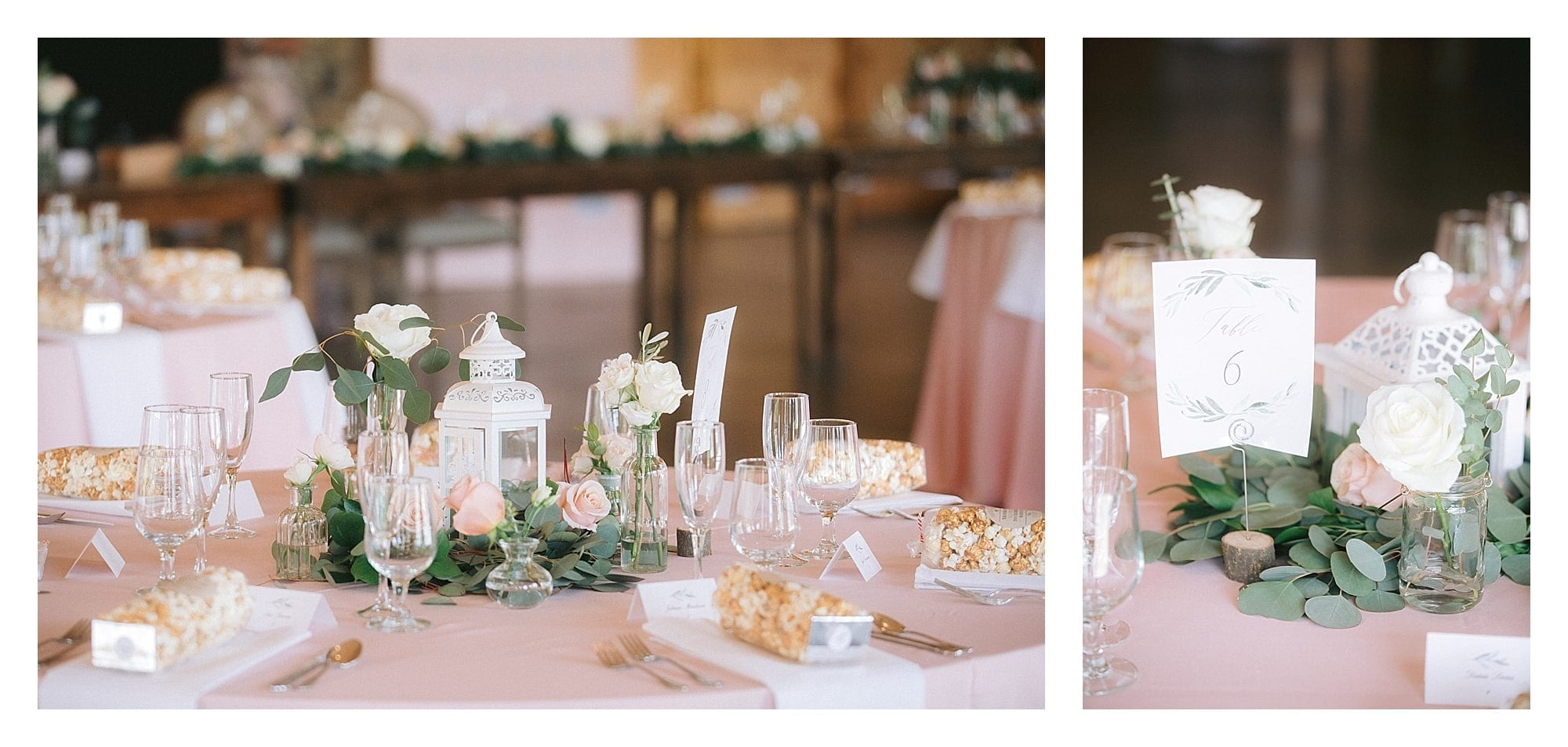 Peach and gold table settings for wedding reception