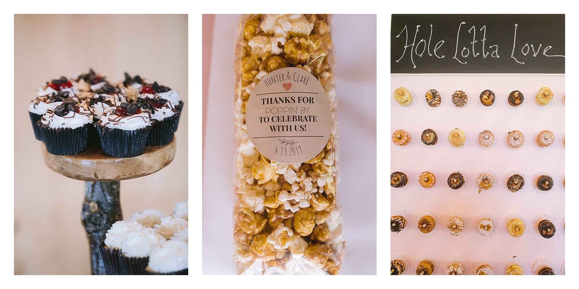 Wedding desserts and popcorn favors, donut wall