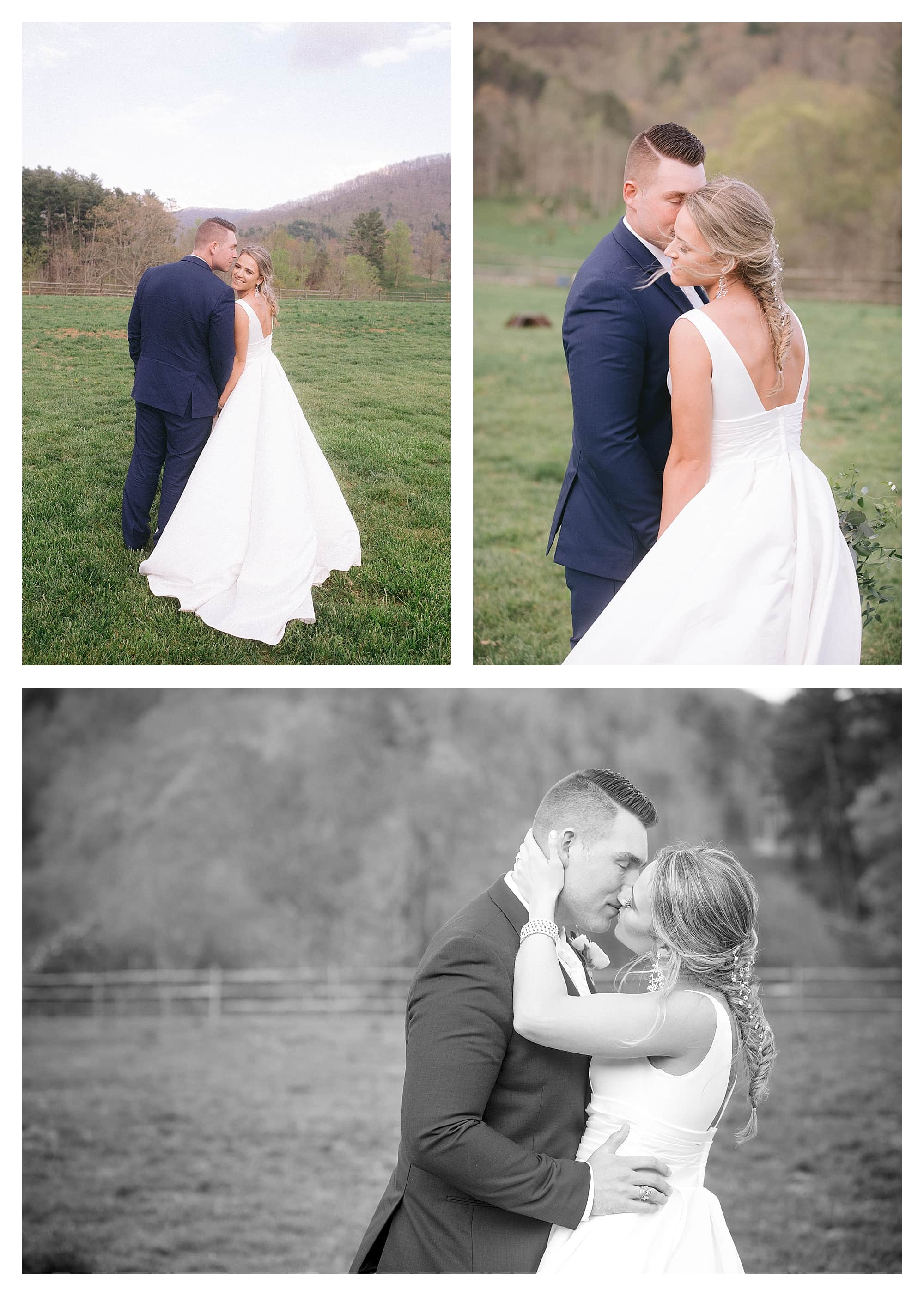 Bride and groom kissing in grassy field