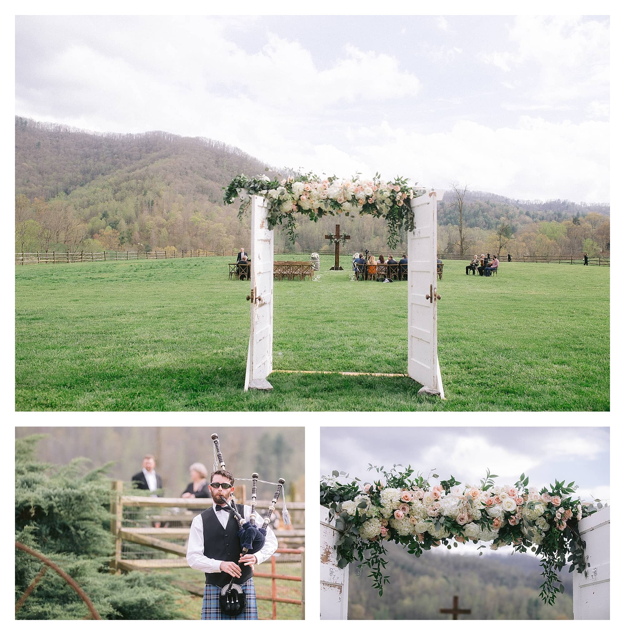Wedding ceremony decor - wedding arbour made with two old doors and cream and peach flowers across the top