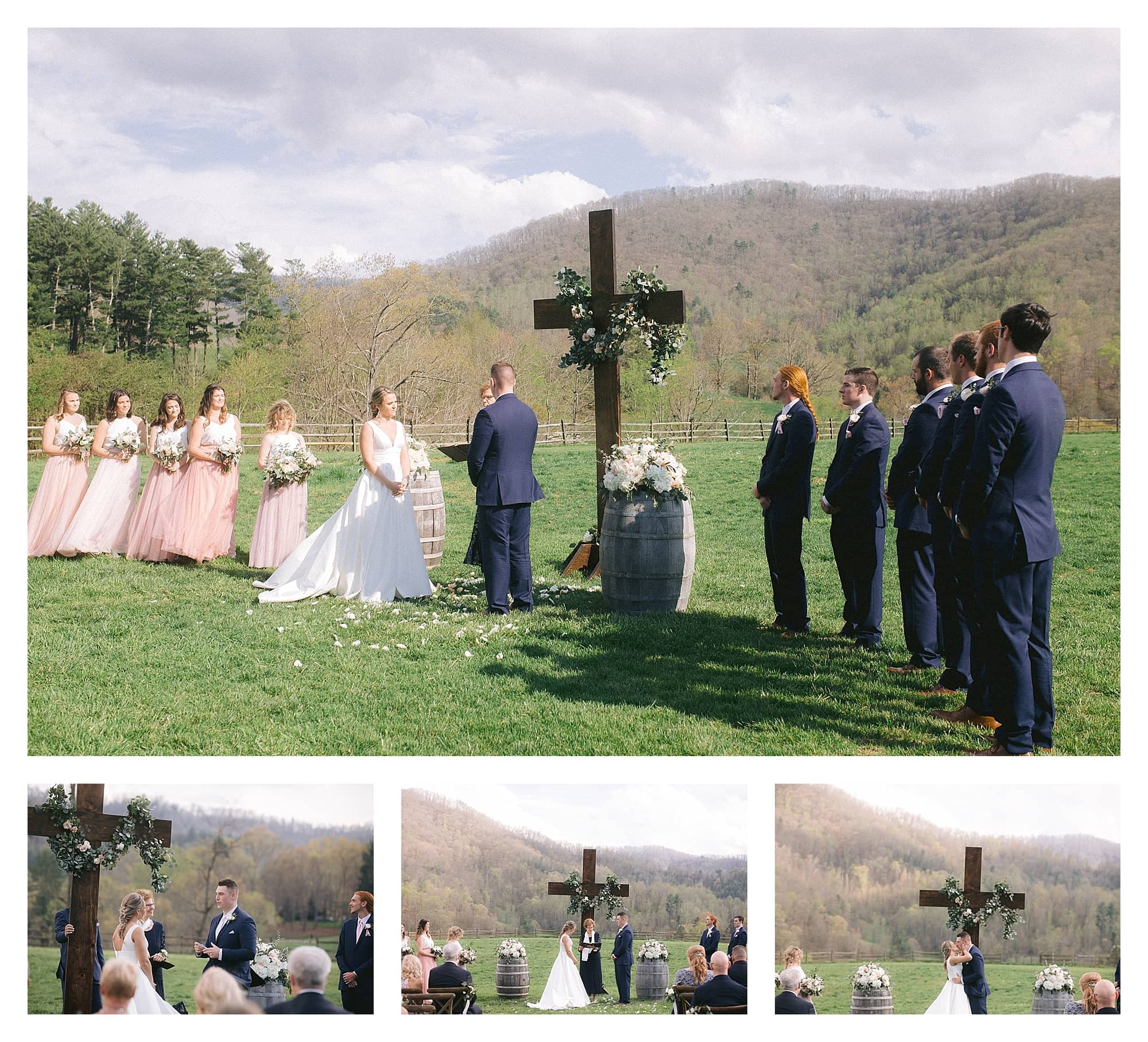 Wedding ceremony outdoors in grassy field among mountains - bride and groom first kiss