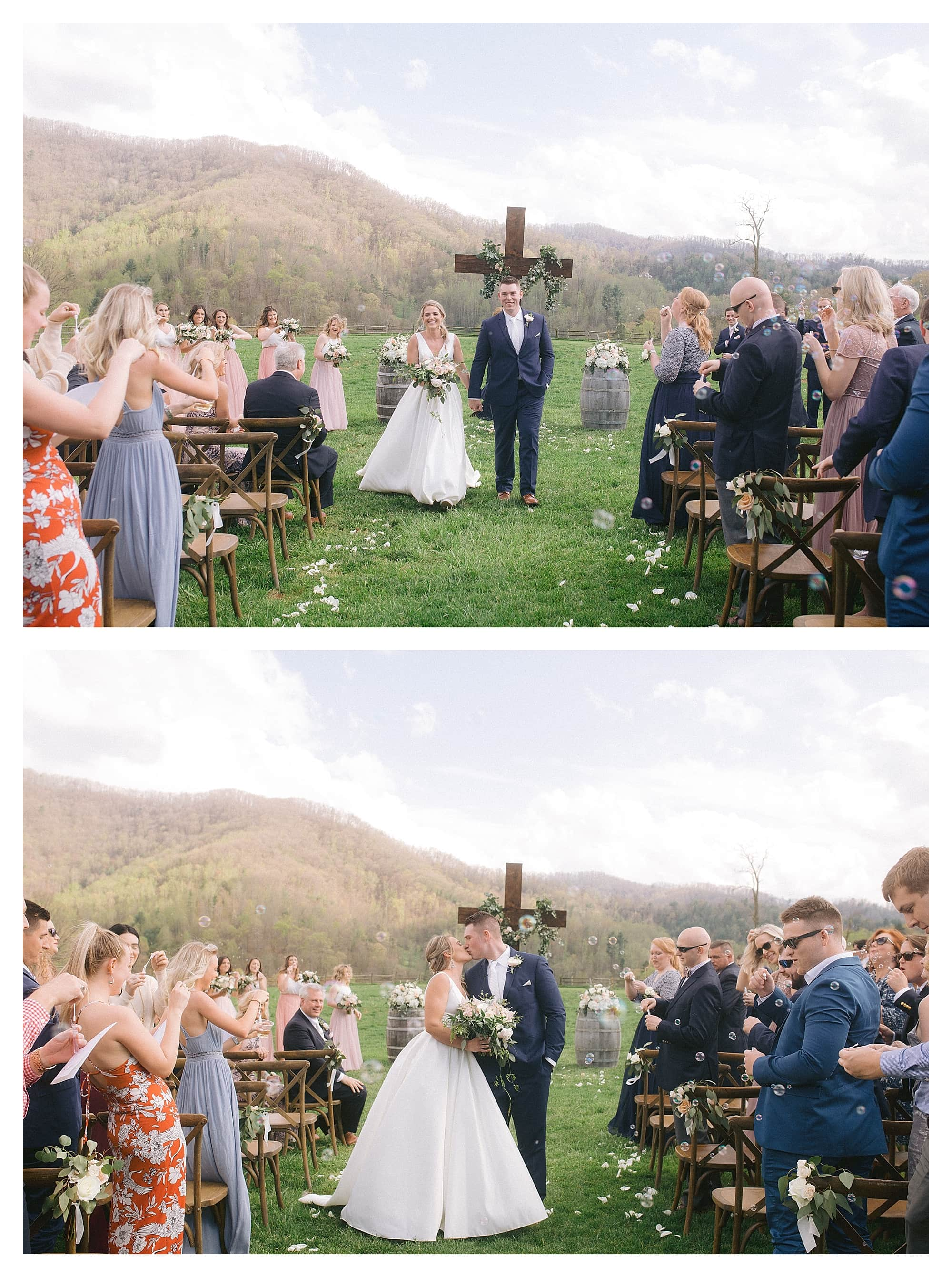 Wedding ceremony outdoors in grassy field among mountains - bride and groom walking down the aisle together post ceremony