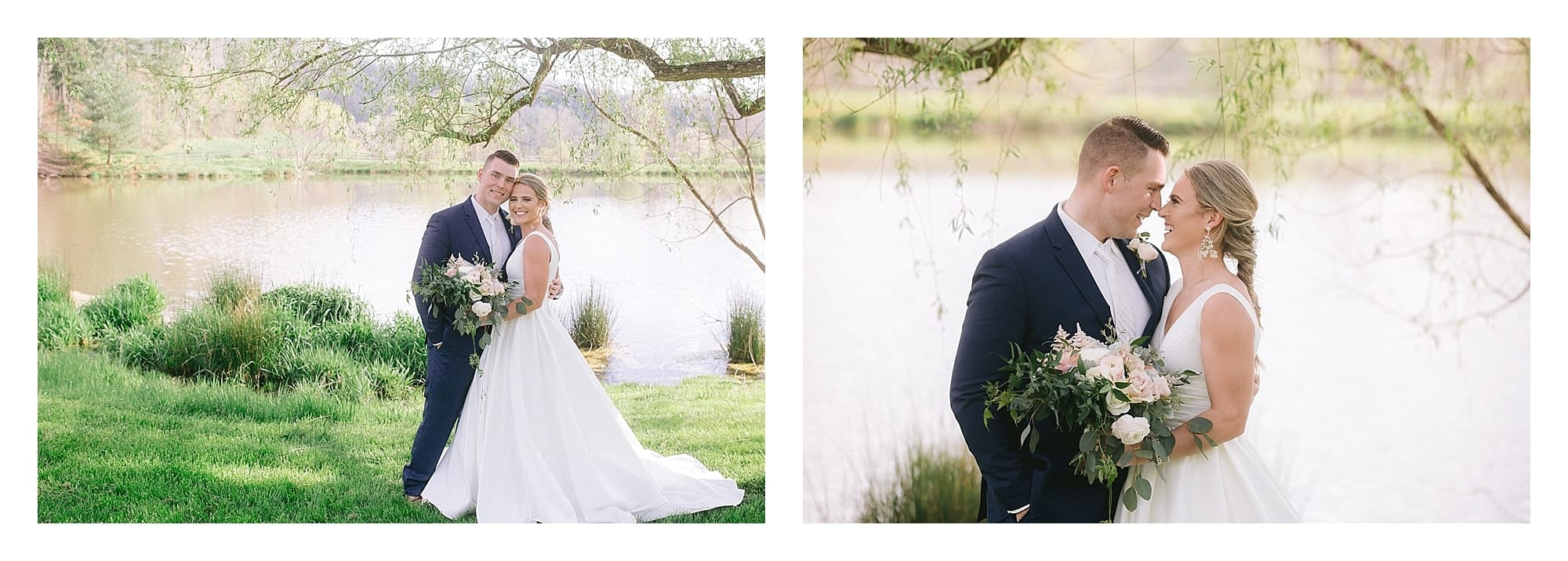 Bride and groom posing beside pond under willow tree