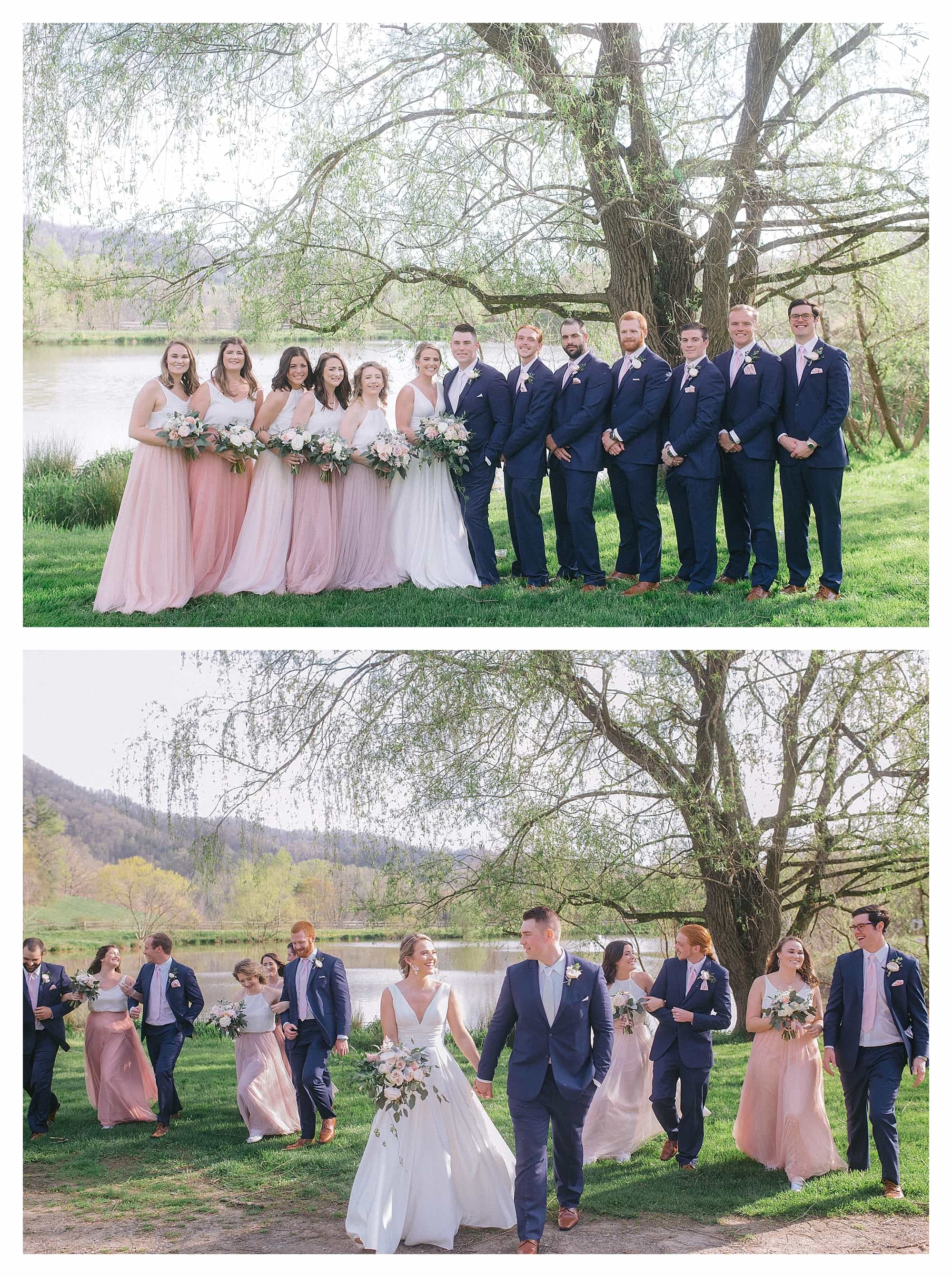 Wedding party posing beside pond under willow tree
