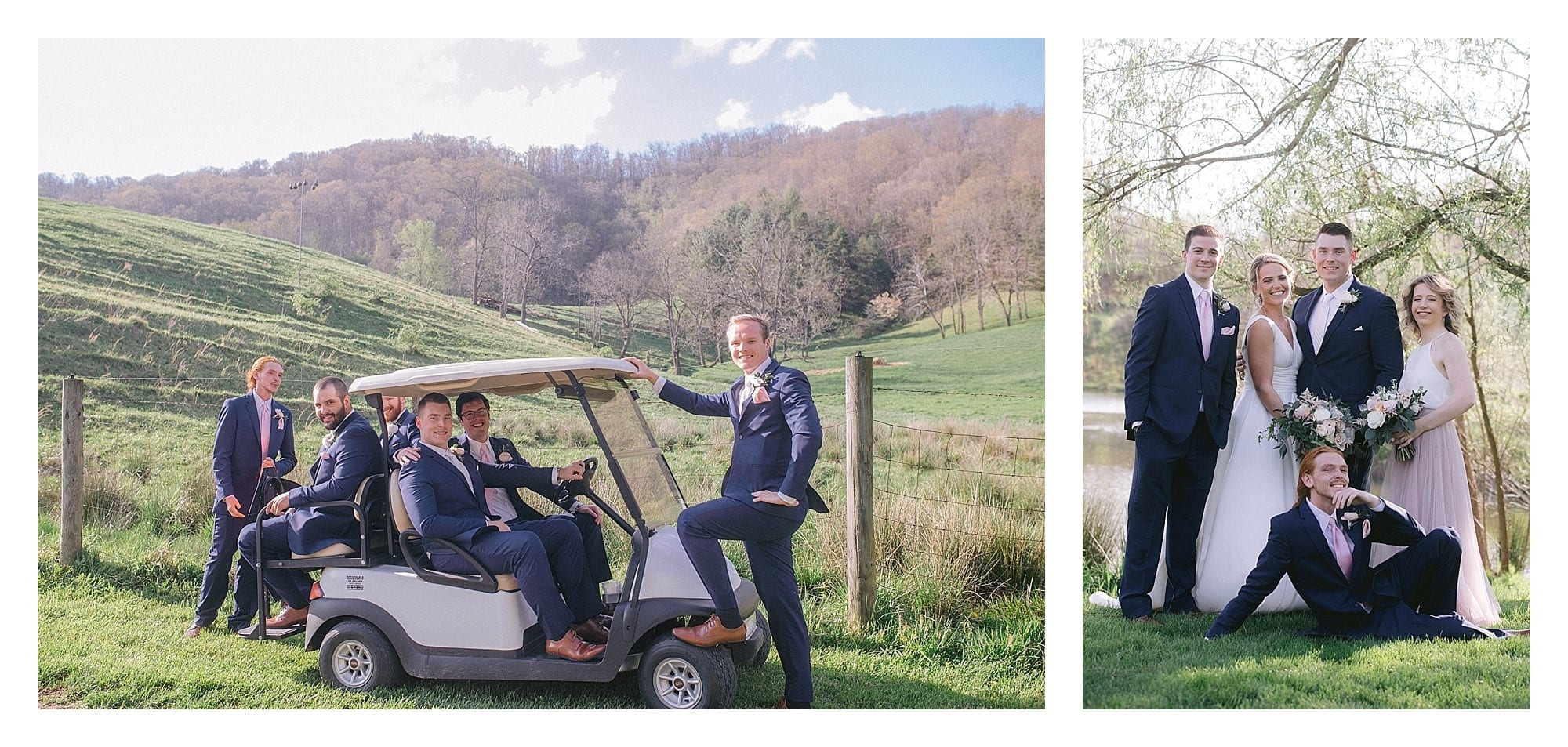 Wedding party posing beside pond under willow tree and groomsmen posing on golf cart