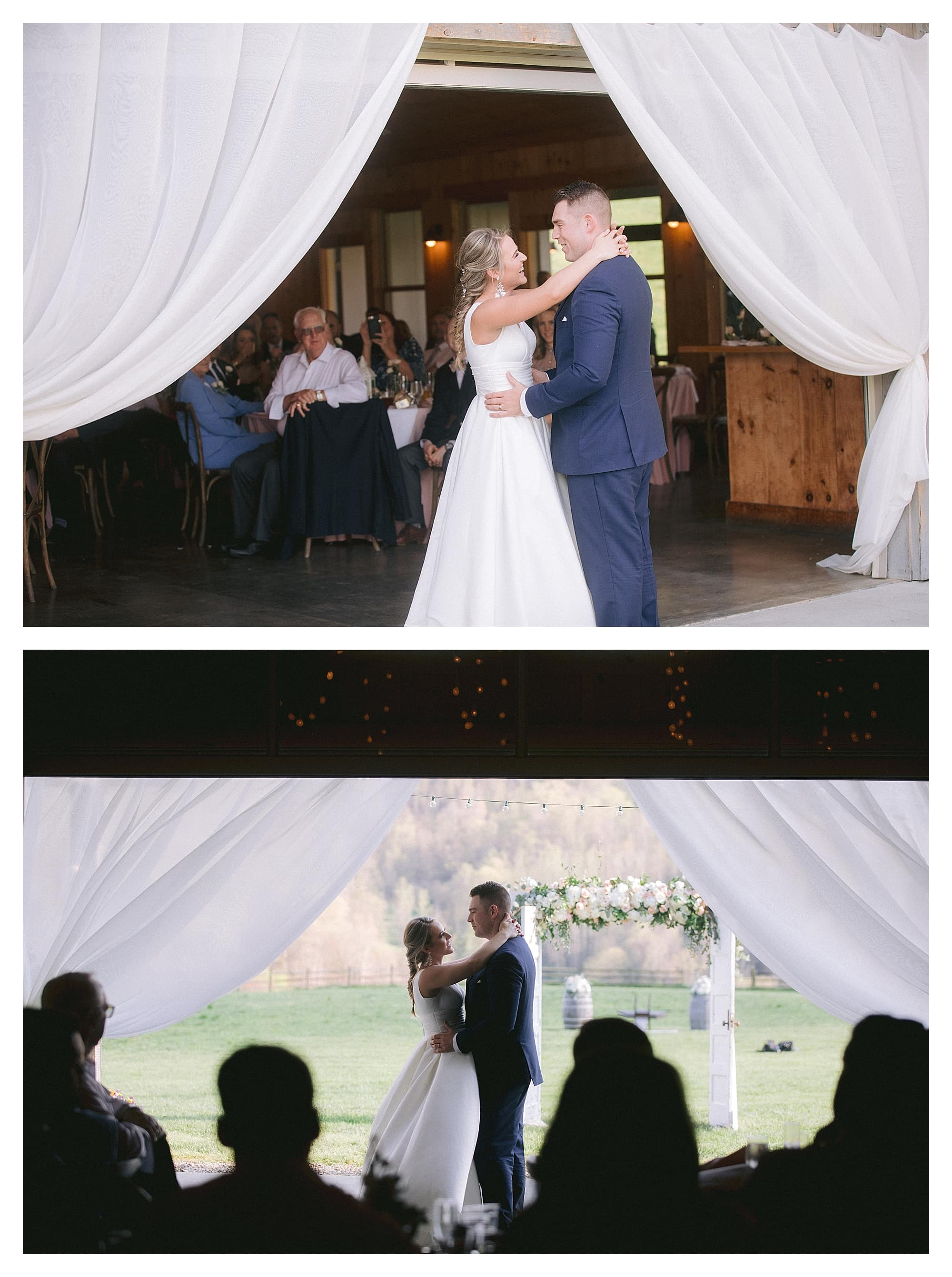 Bride and grooms first dance at wedding reception