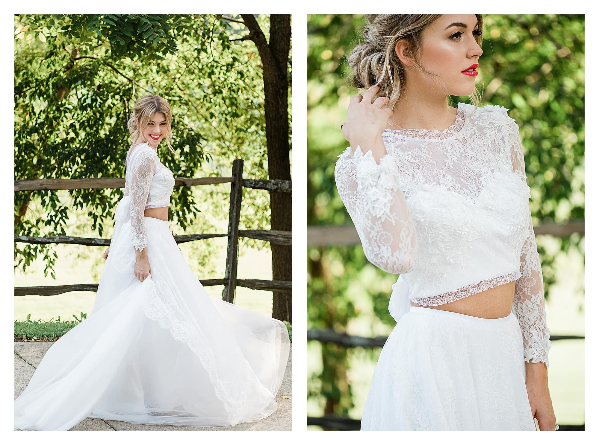 Bride wearing two piece white lace wedding dress smiling outside under trees