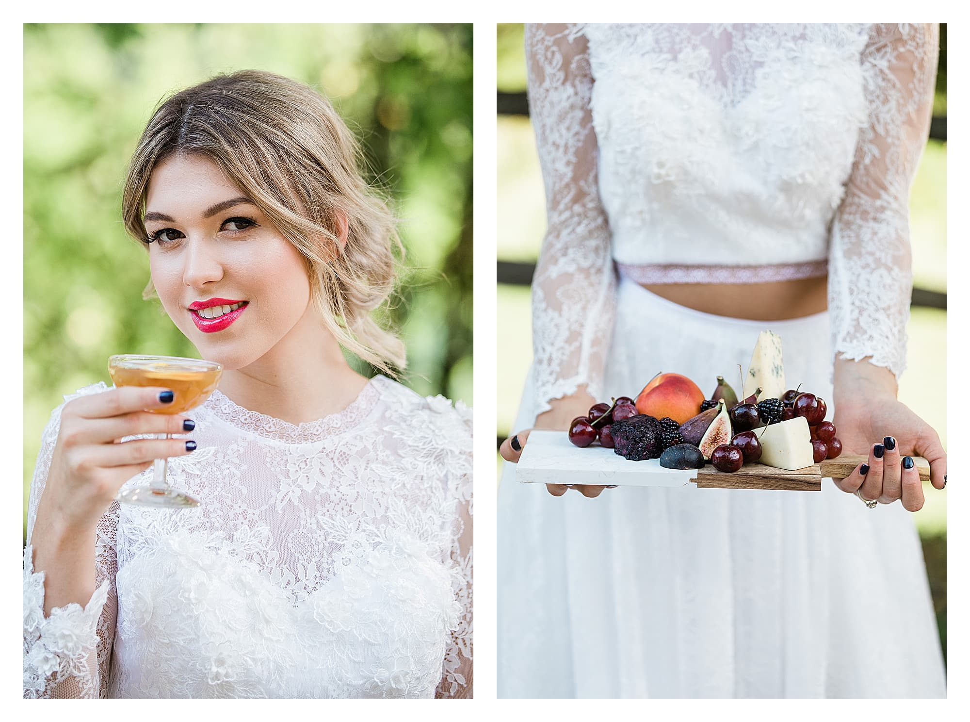 Bride wearing two piece white lace wedding dress sipping cocktail smiling