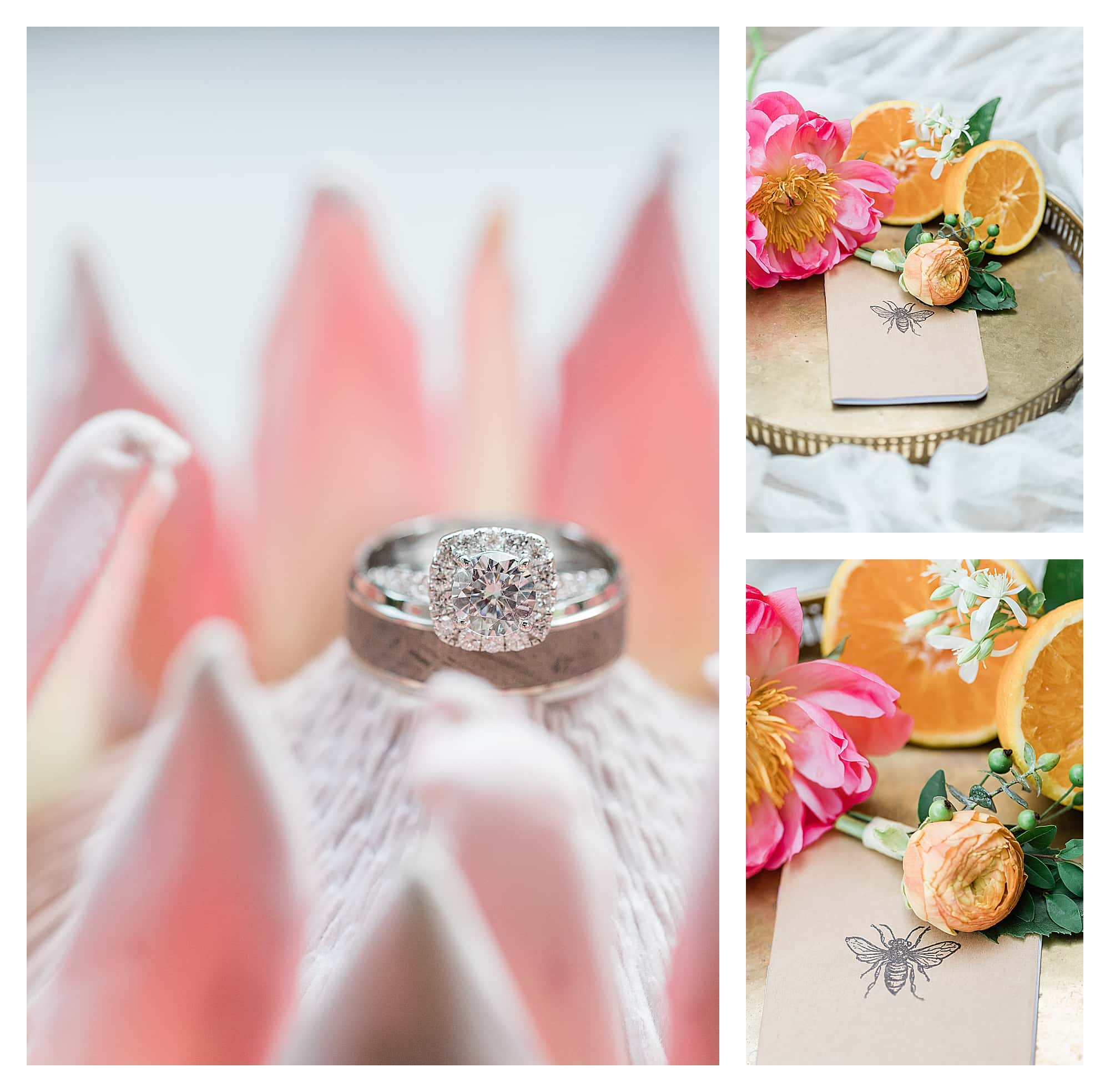 Wedding rings on flower and peach wedding boutonniere