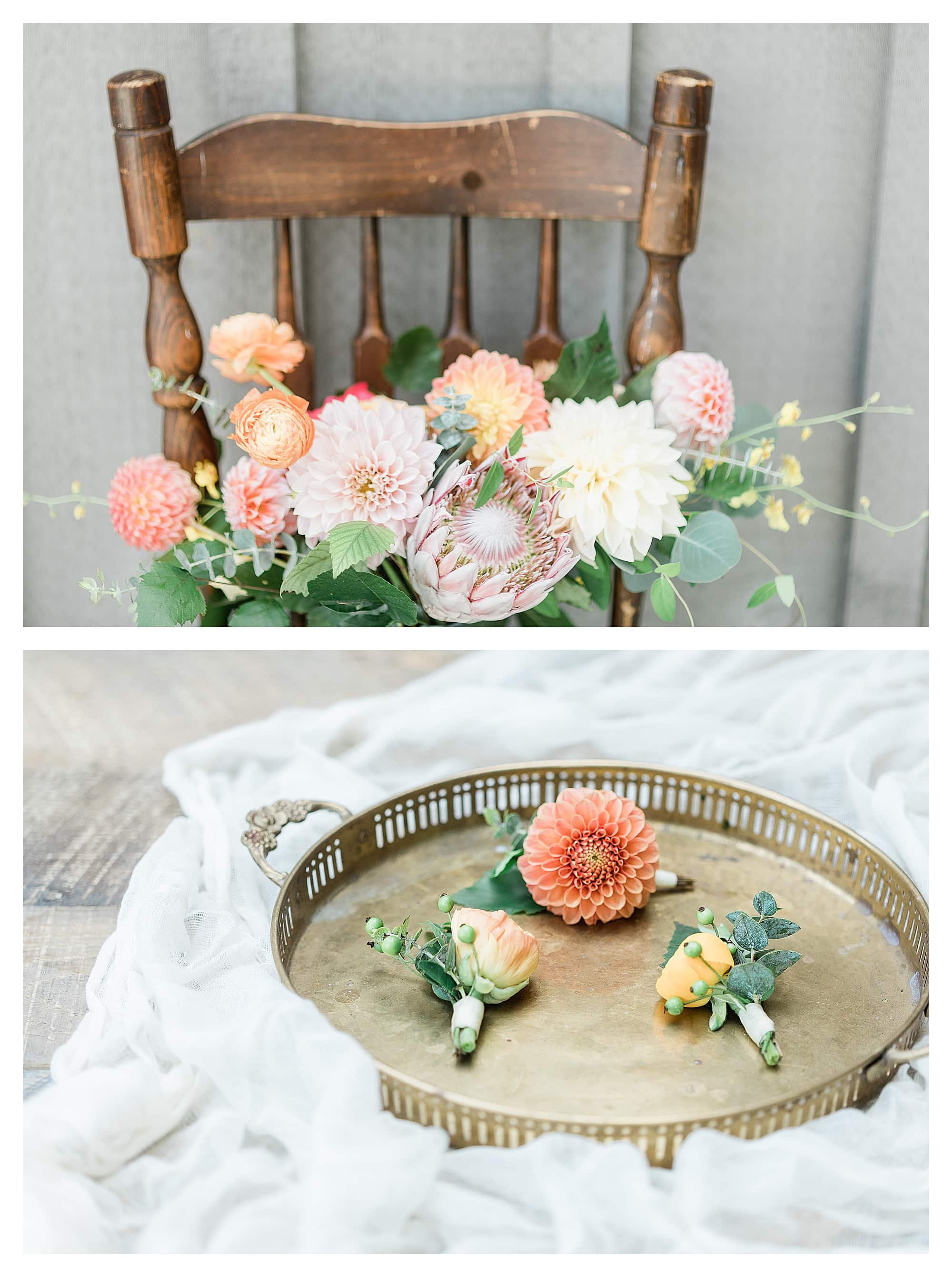 pink and yellow themed wedding bouquet and peach wedding boutonnieres