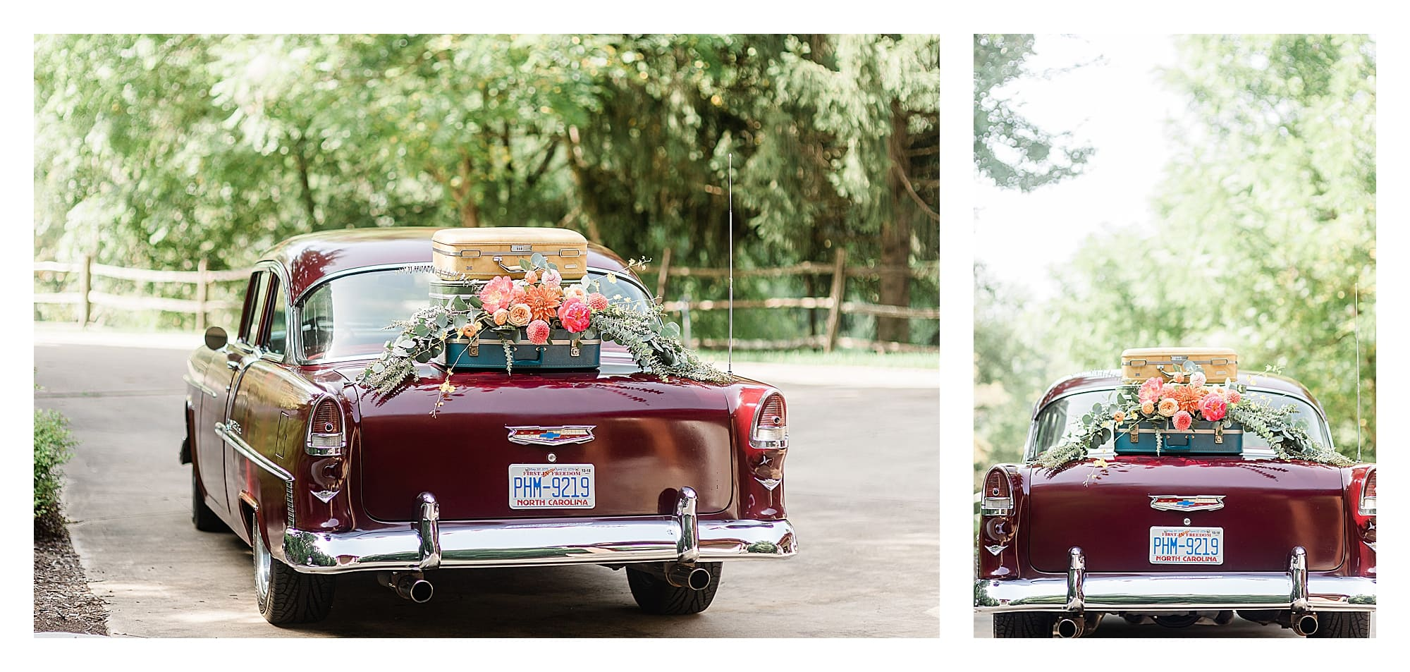 Dark red old fashioned car with suitcases sitting on top of trunk with peach, pink and orange wedding flowers on top