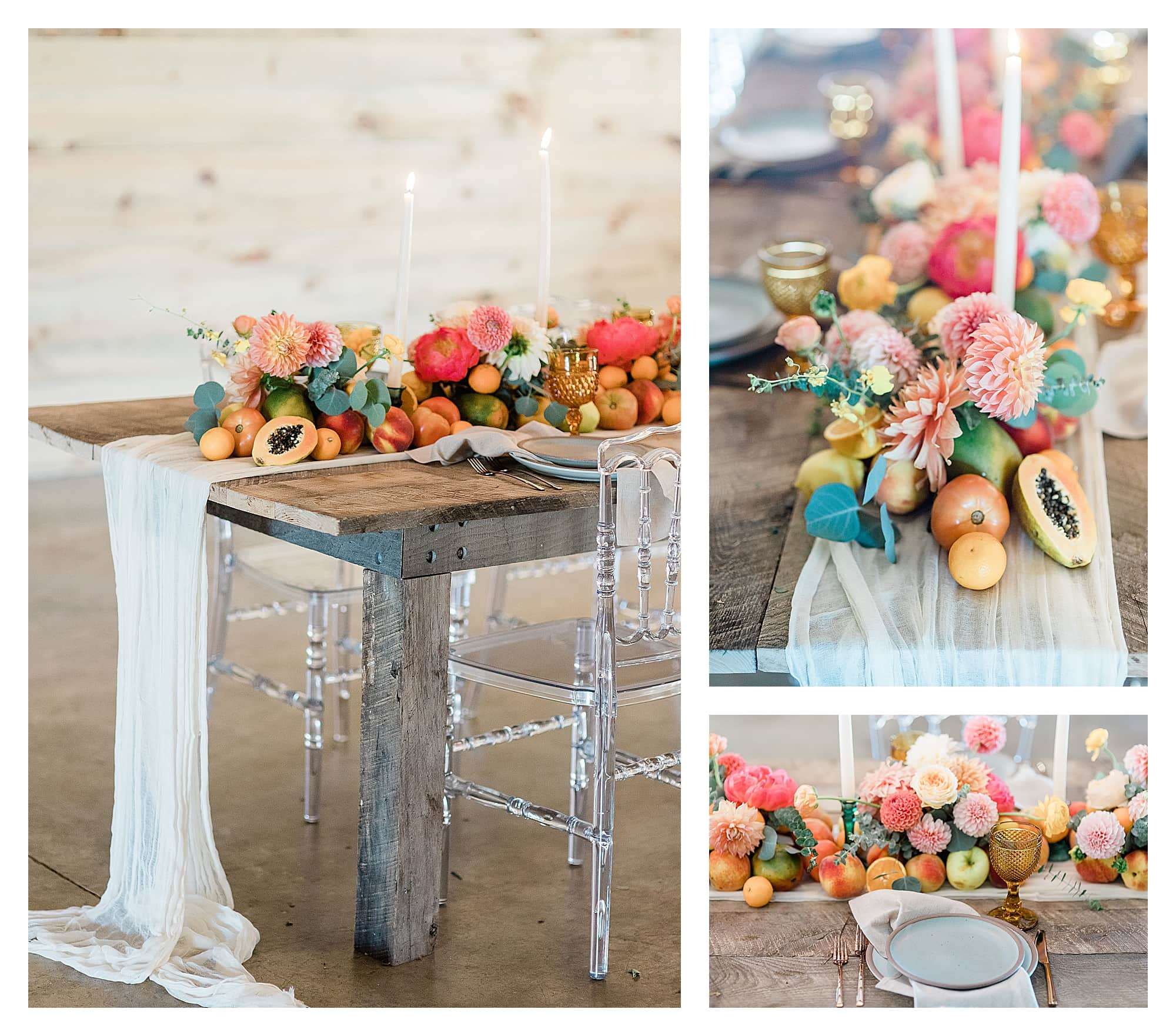 Rustic wooden table and clear plastic chairs with peach, pink and yellow citrus fruits as centrepiece down center of table with white candles