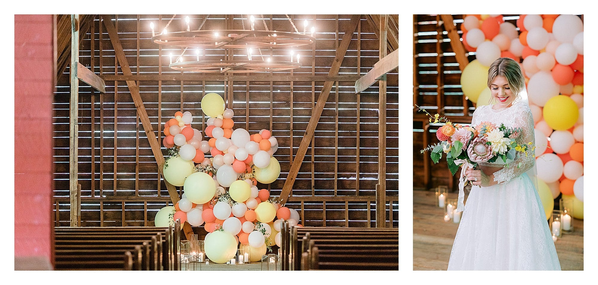 Bride in white two piece lace gown standing in wooden wedding chapel with yellow, orange, peach and white balloon backdrop with candles