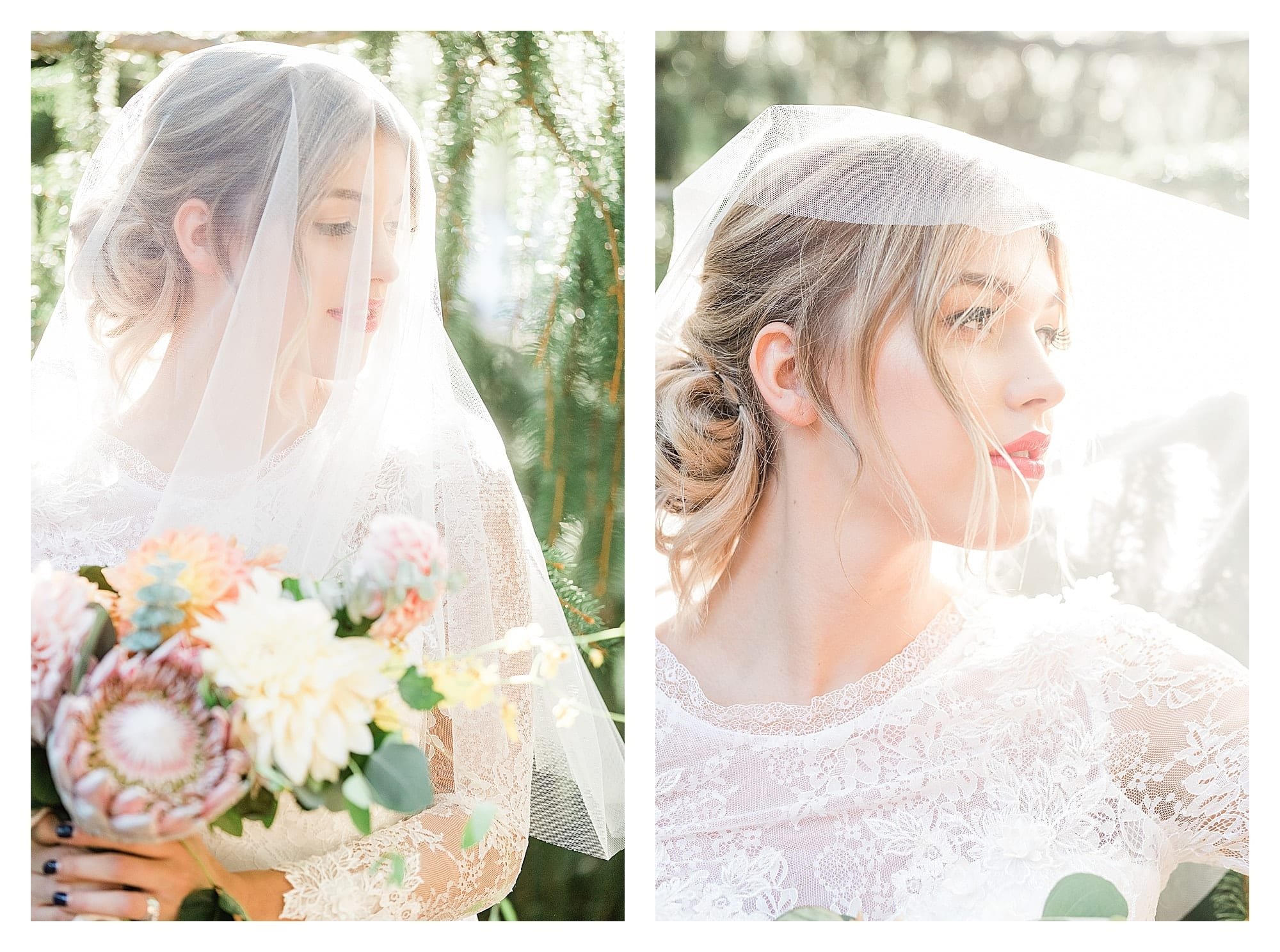 Bride wearing two piece white lace wedding dress and white veil holding peach, pink and yellow themed wedding bouquet