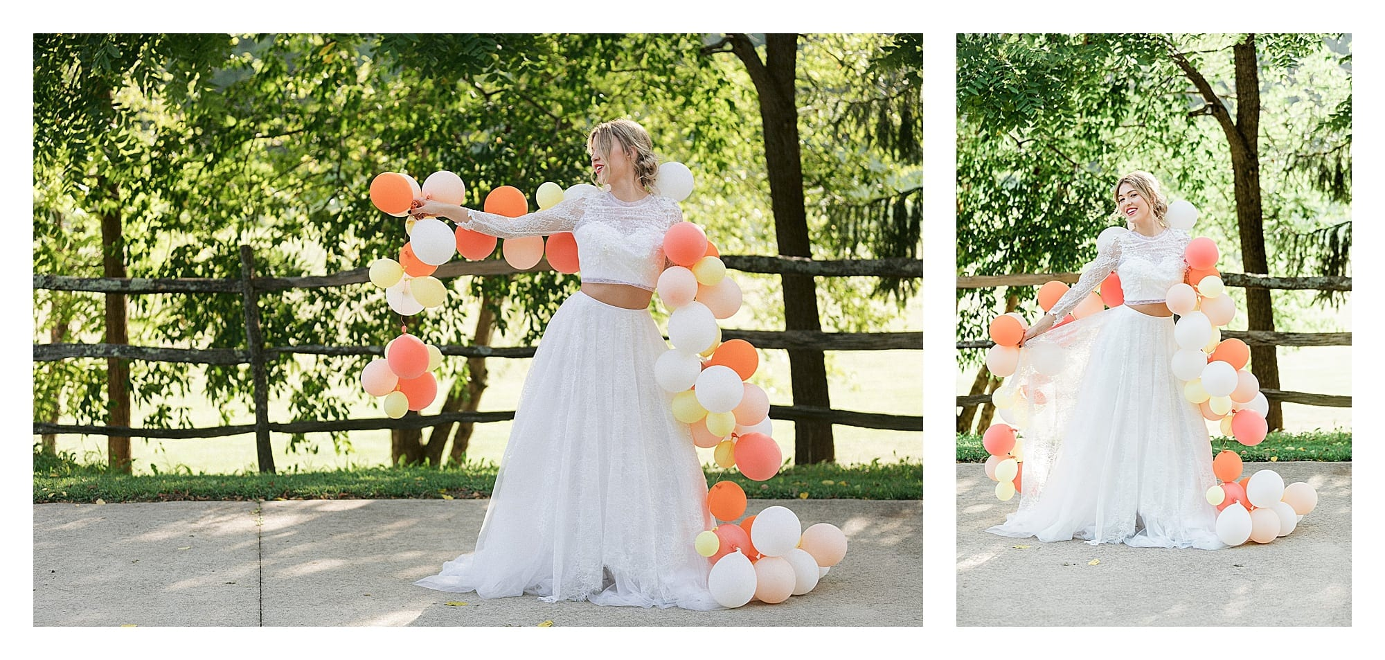 Bride in white two piece lace gown holding string filled with yellow, orange, peach and white balloons laughing