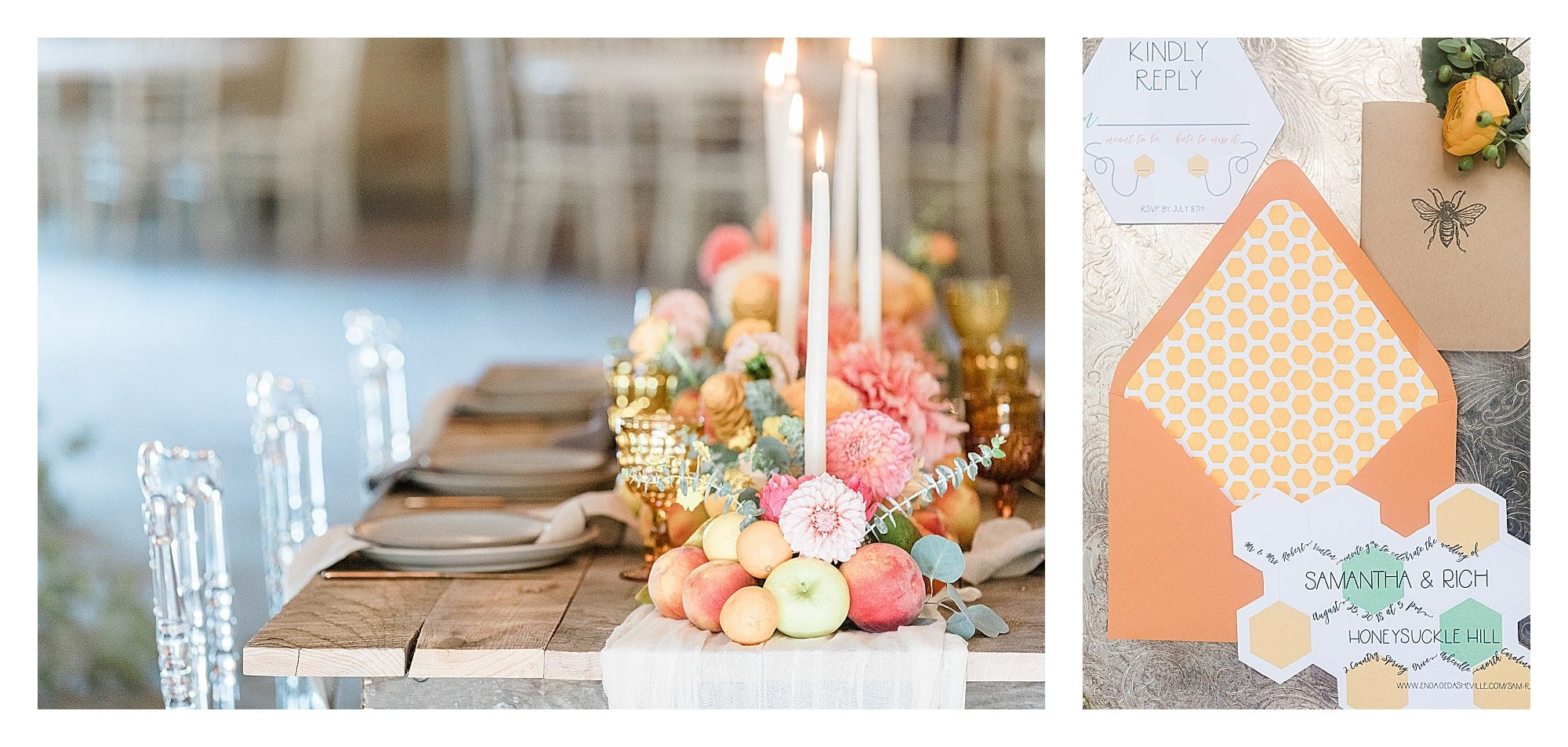 Rustic wooden table and clear plastic chairs with peach, pink and yellow citrus fruits as centrepiece down center of table with white candles and summer themed wedding invitations