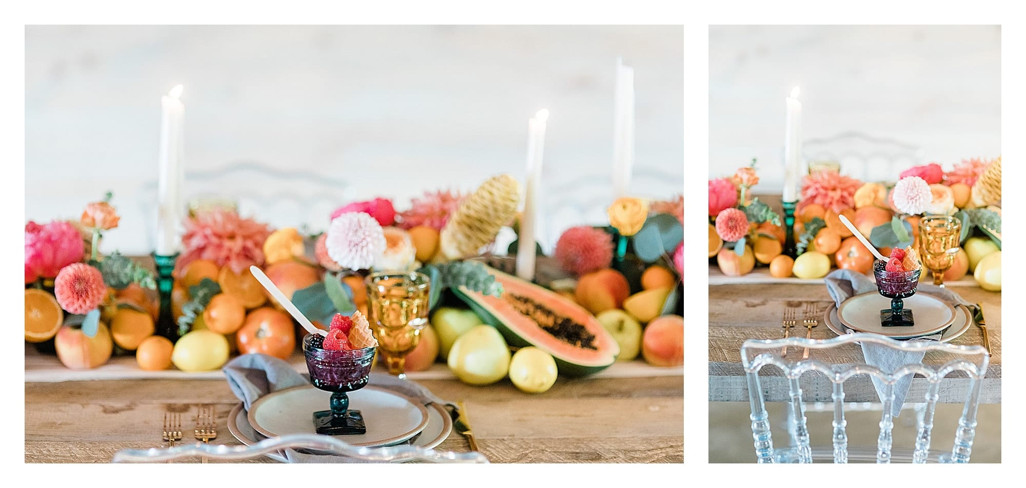 berry dessert in blue glass decorative cup sitting on plate on wooden wedding reception table