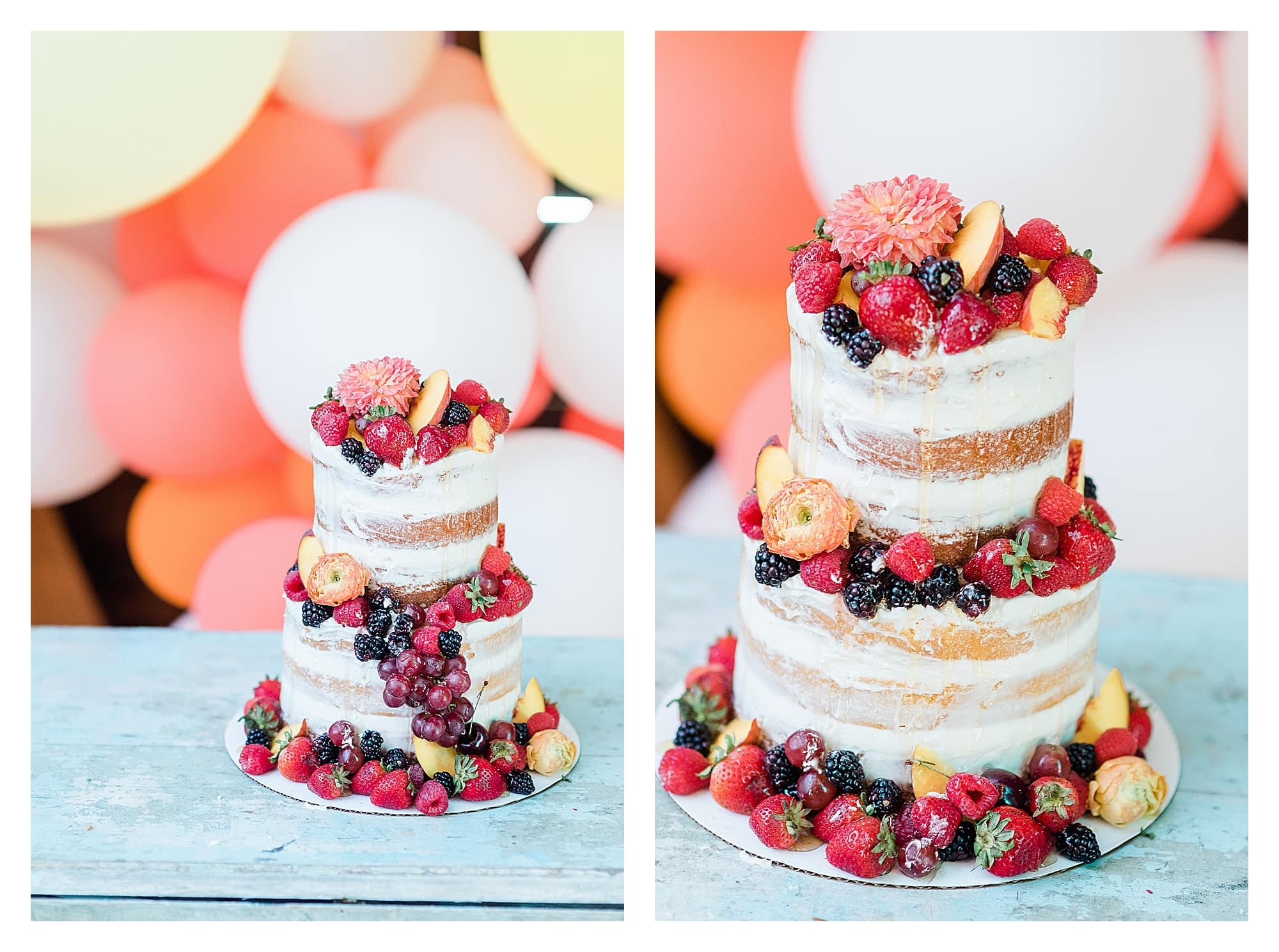 White two layer wedding cake with ring of berries around each layer and on top and drizzled with honey