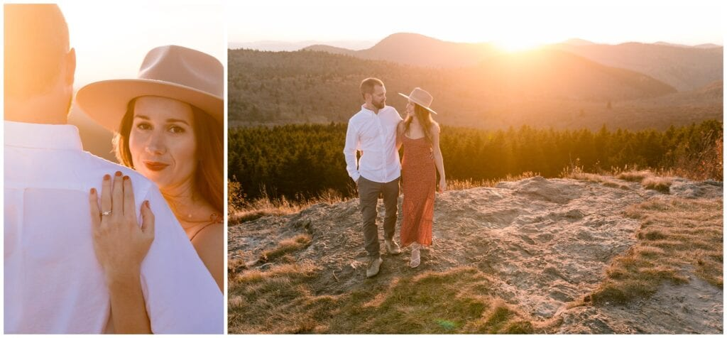 Mountain top engagement photos in Asheville, NC.