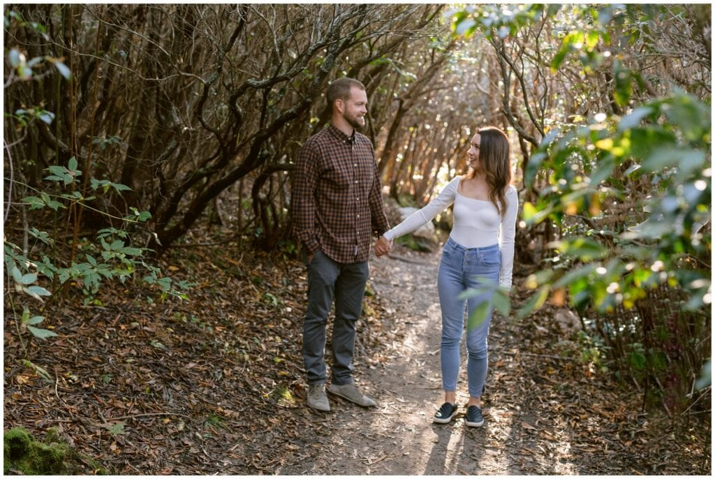 Mountain engagement photos in the Fall at Black Balsam.
