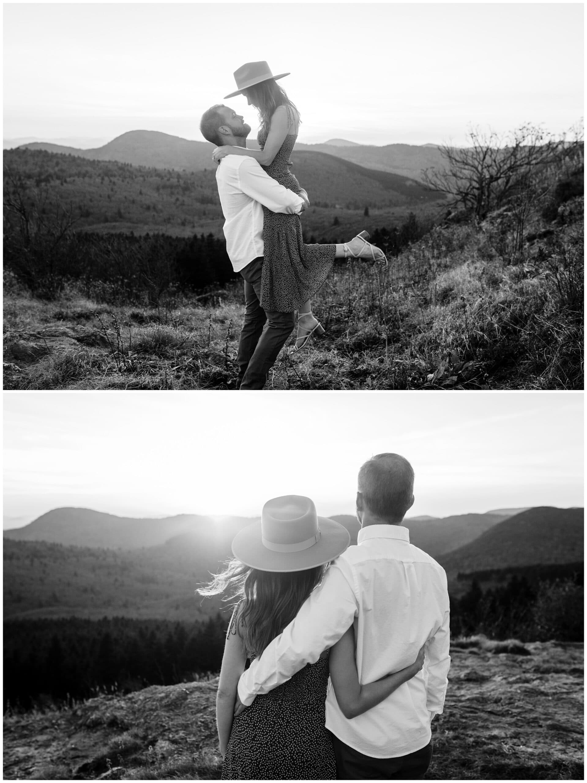 Black and white images from engagement session at Black Balsam Knob.