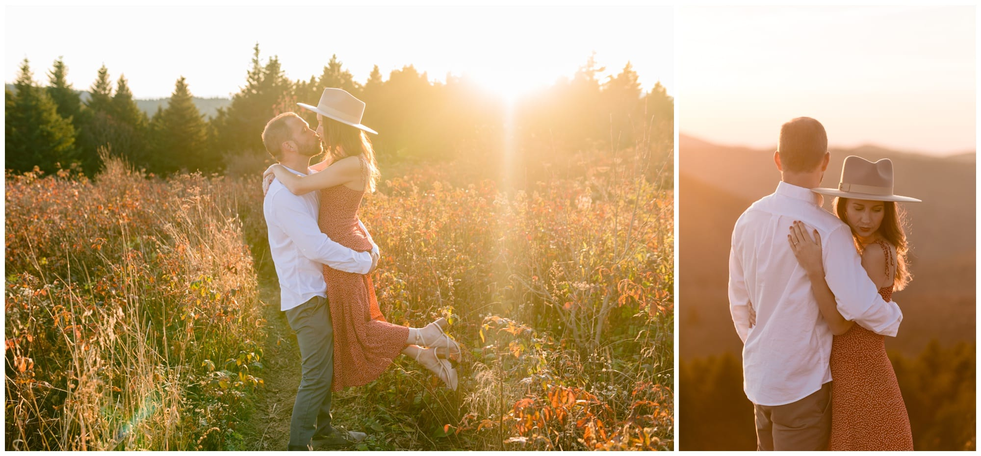 Engagement photos in a field in Asheville, NC.